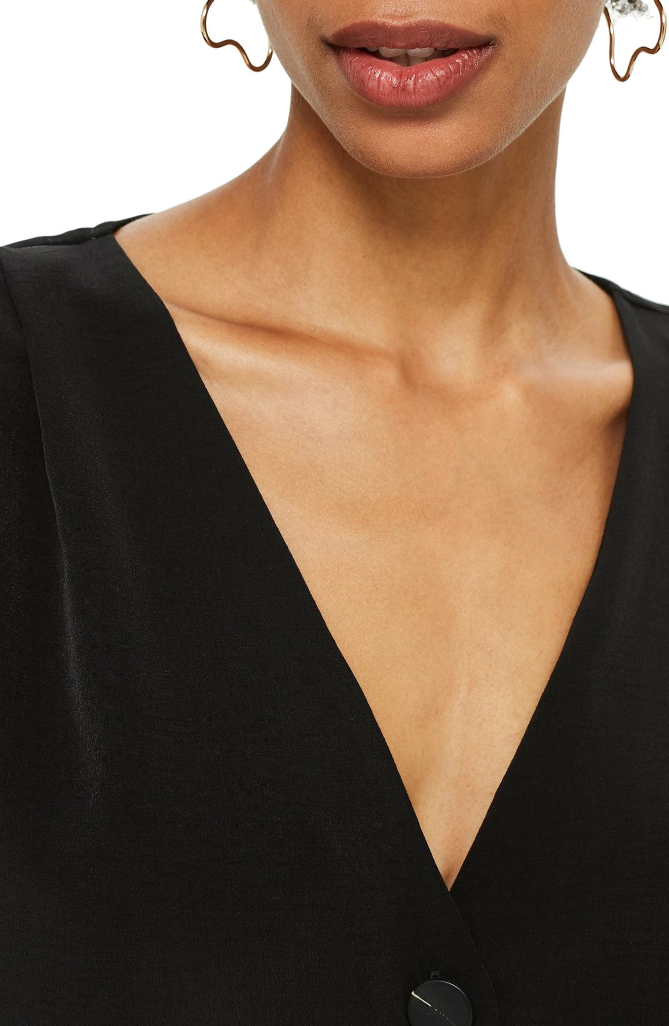 Pippa Pleat Sleeve Top,                             Alternate thumbnail 3, color,                             BLACK
