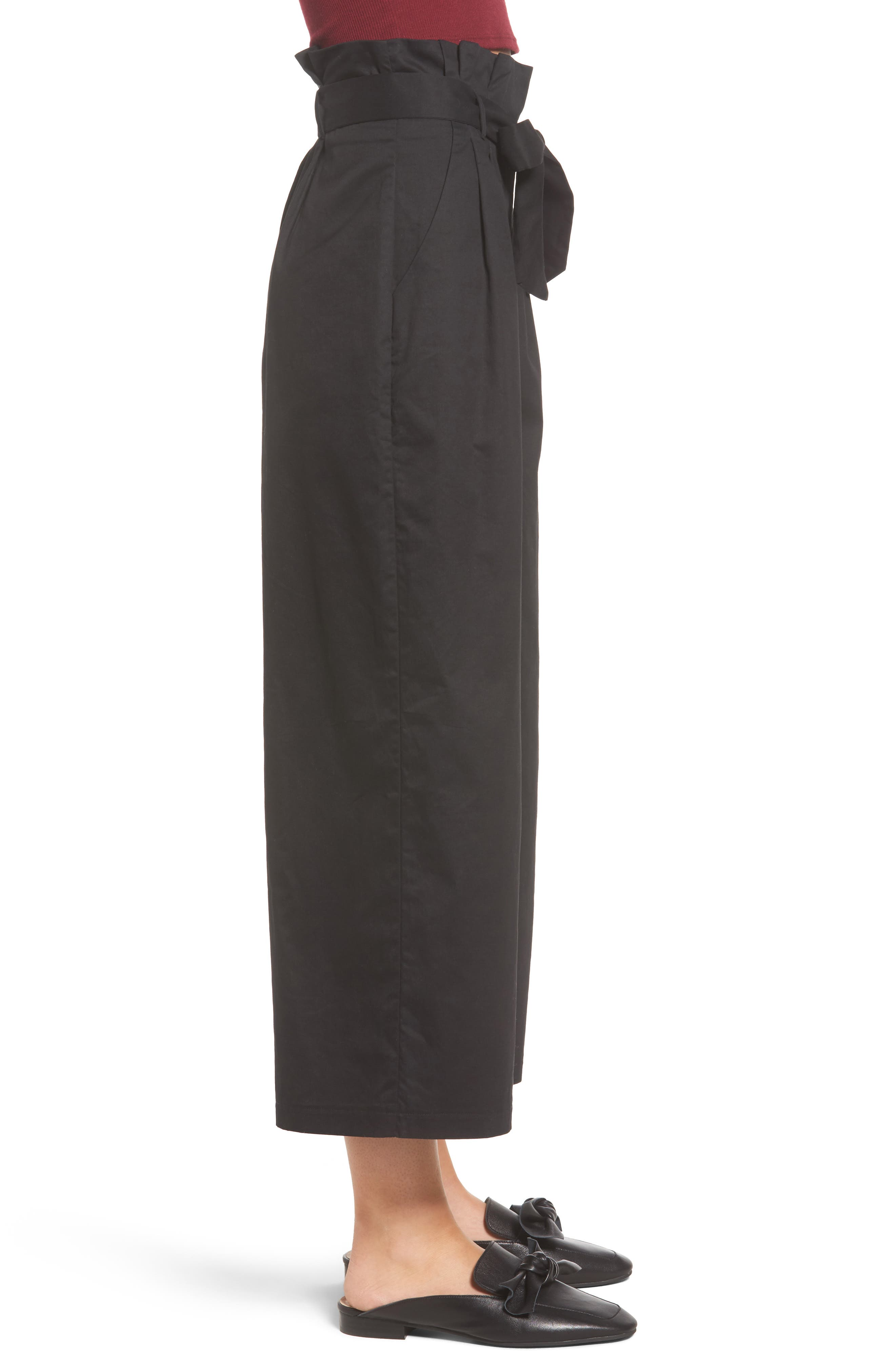 Paperbag Waist Wide Leg Pants,                             Alternate thumbnail 3, color,                             001