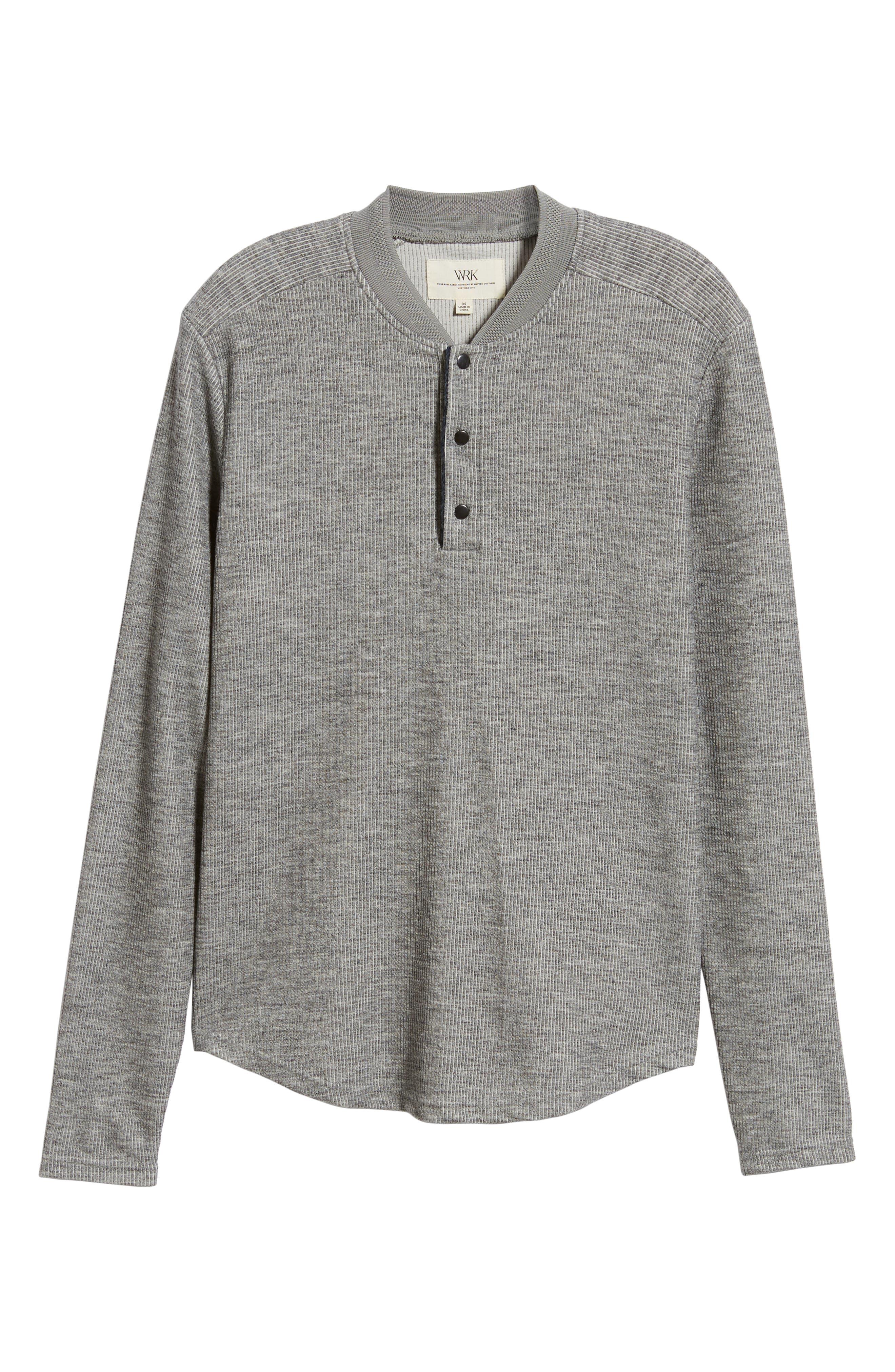 Charlie Rib Knit Henley Shirt,                             Alternate thumbnail 6, color,                             GREY