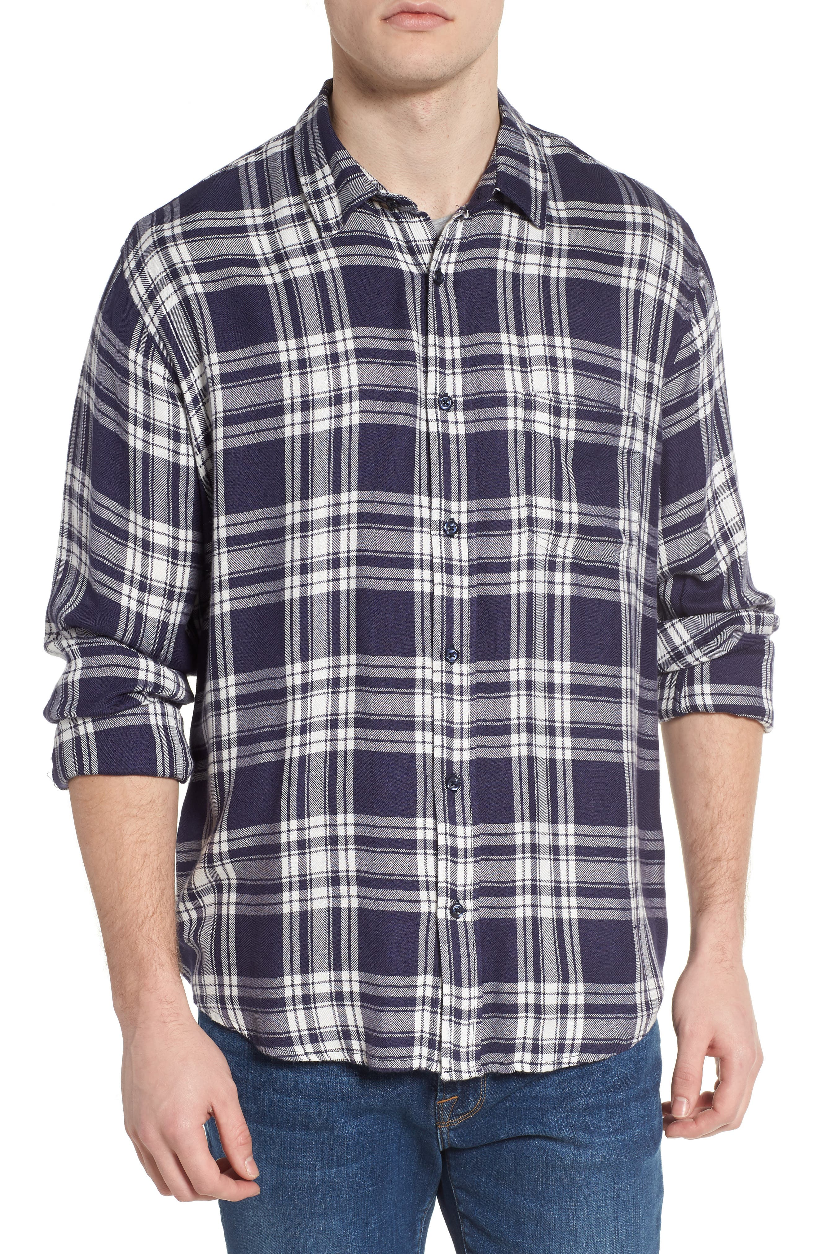 Lennox Slim Fit Plaid Sport Shirt,                             Alternate thumbnail 4, color,                             100