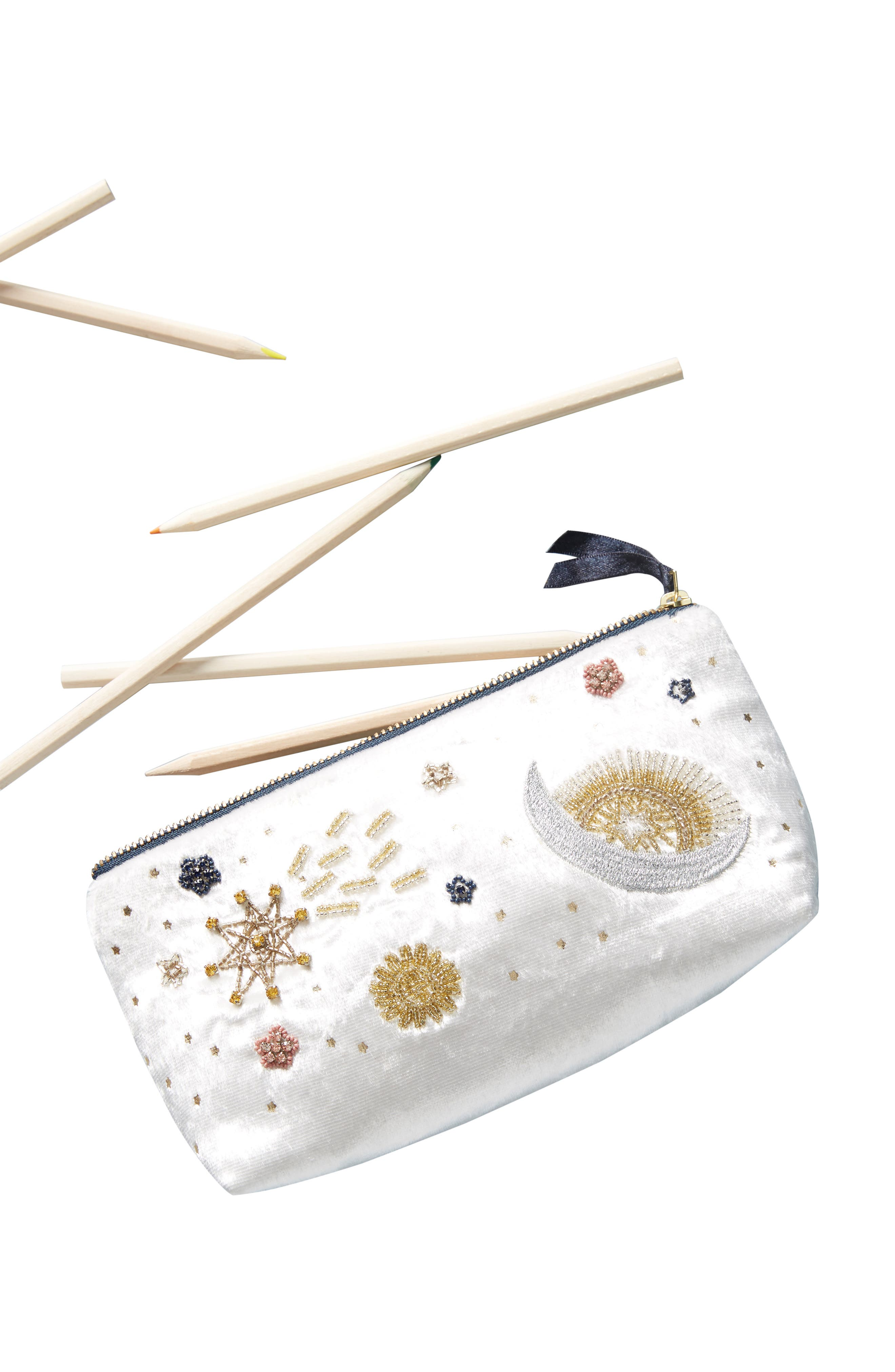 Claire Embellished Pencil Pouch,                             Alternate thumbnail 3, color,                             IVORY