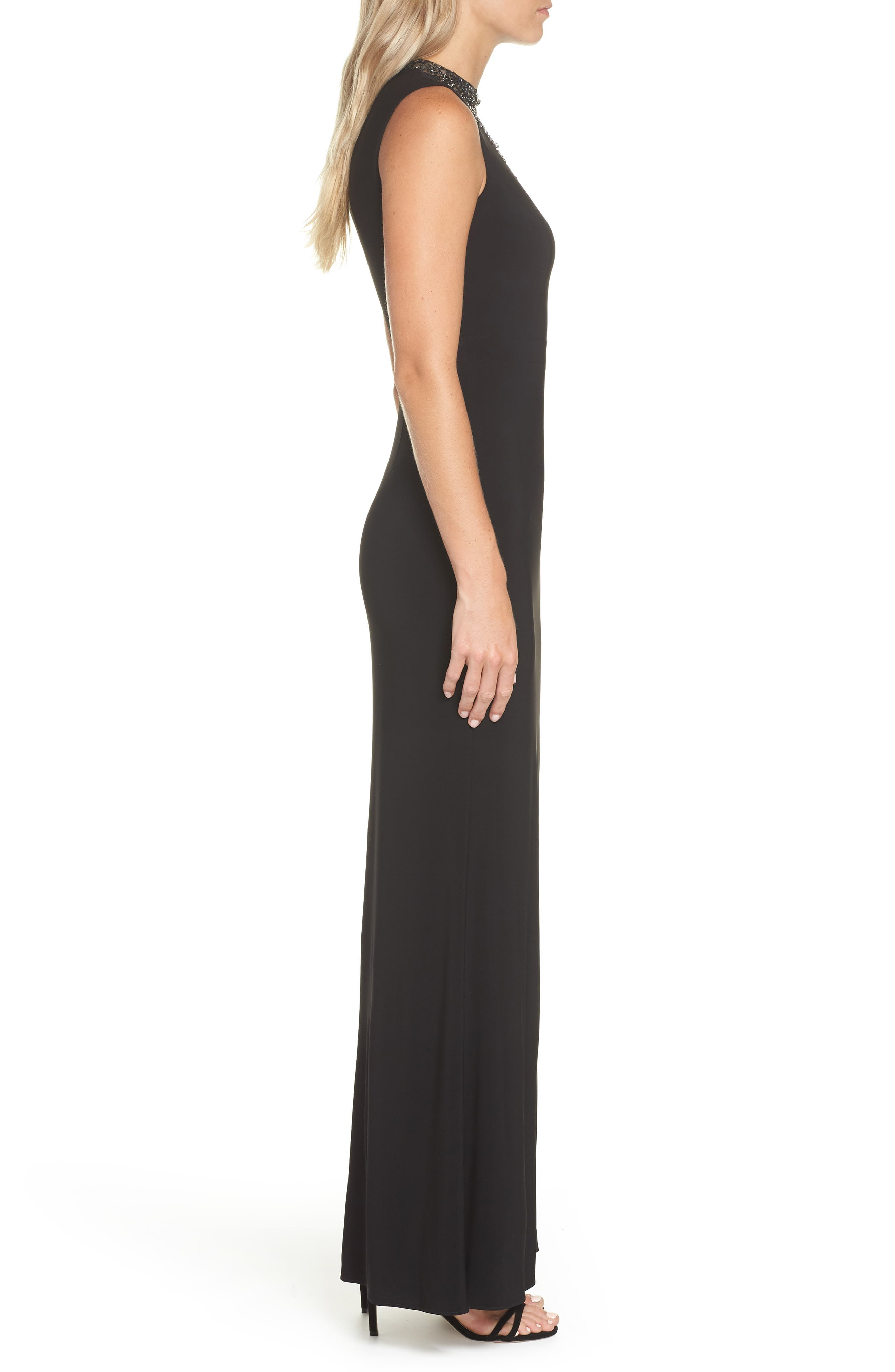 Beaded Illusion Neck Gown,                             Alternate thumbnail 3, color,                             BLACK