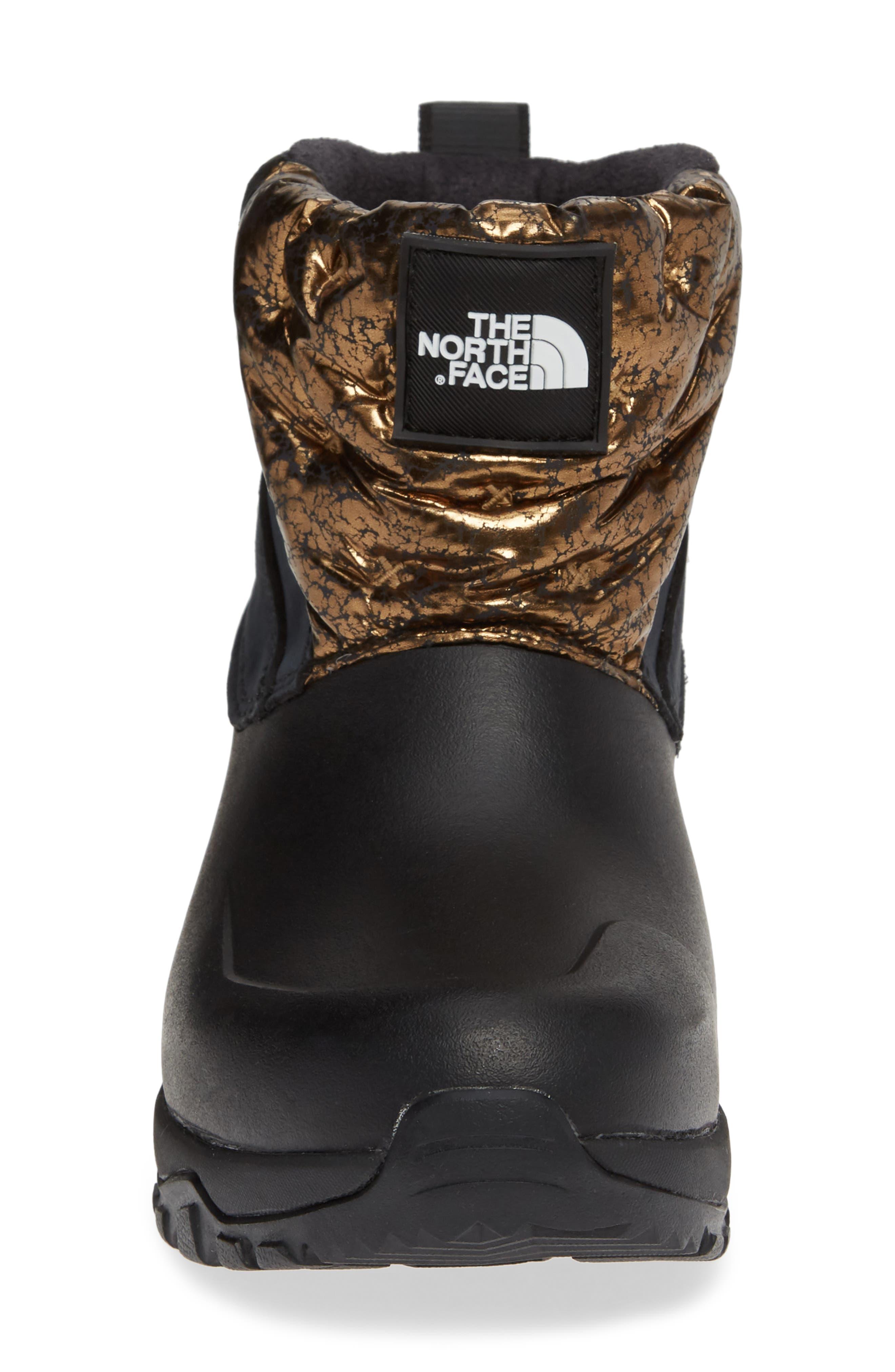 Yukiona Waterproof Ankle Boot,                             Alternate thumbnail 4, color,                             BLACK/ METALLIC COPPER