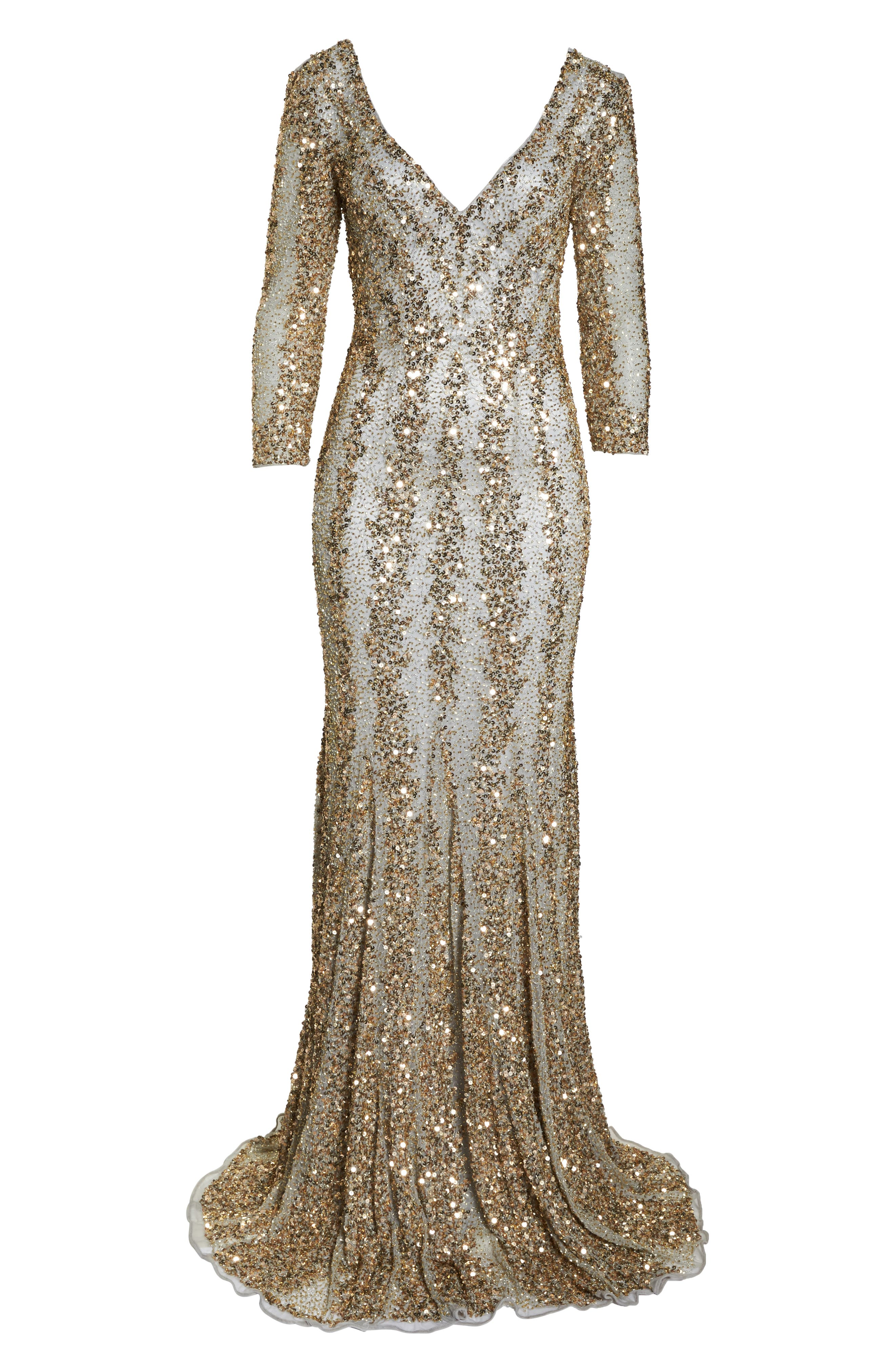 Sequin Gown,                             Alternate thumbnail 7, color,                             NUDE/ PLATINUM