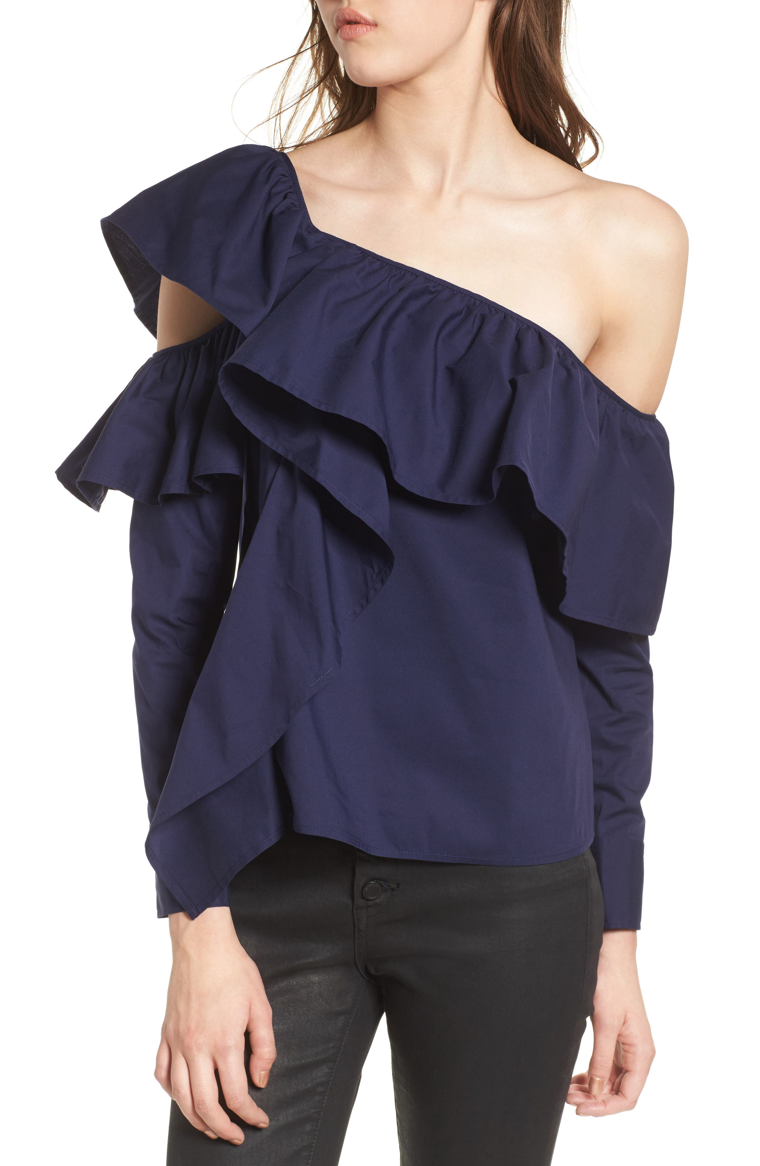 One-Shoulder Ruffle Top,                         Main,                         color, 410