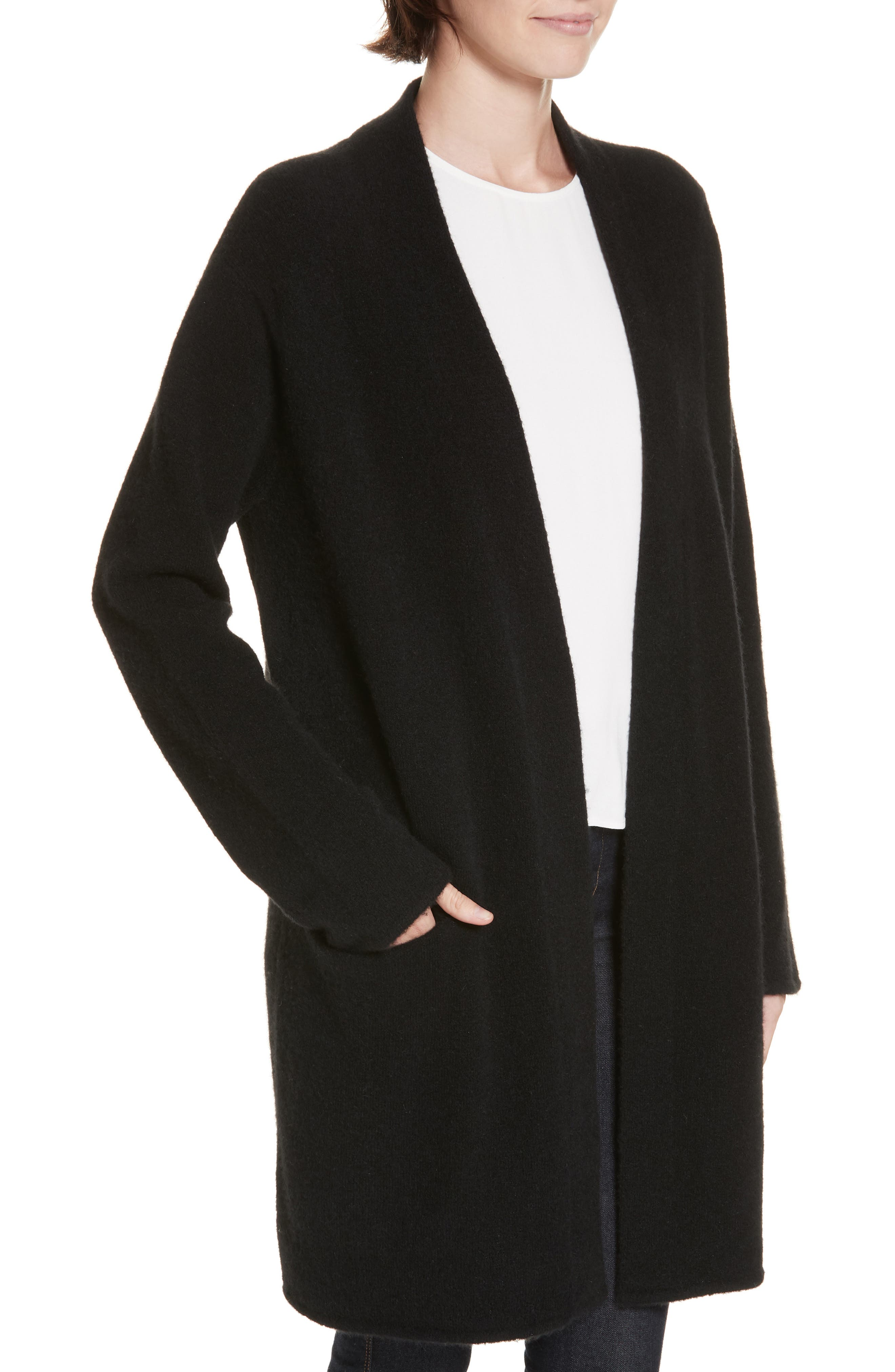 Open Sweater Coat,                             Alternate thumbnail 4, color,                             BLACK