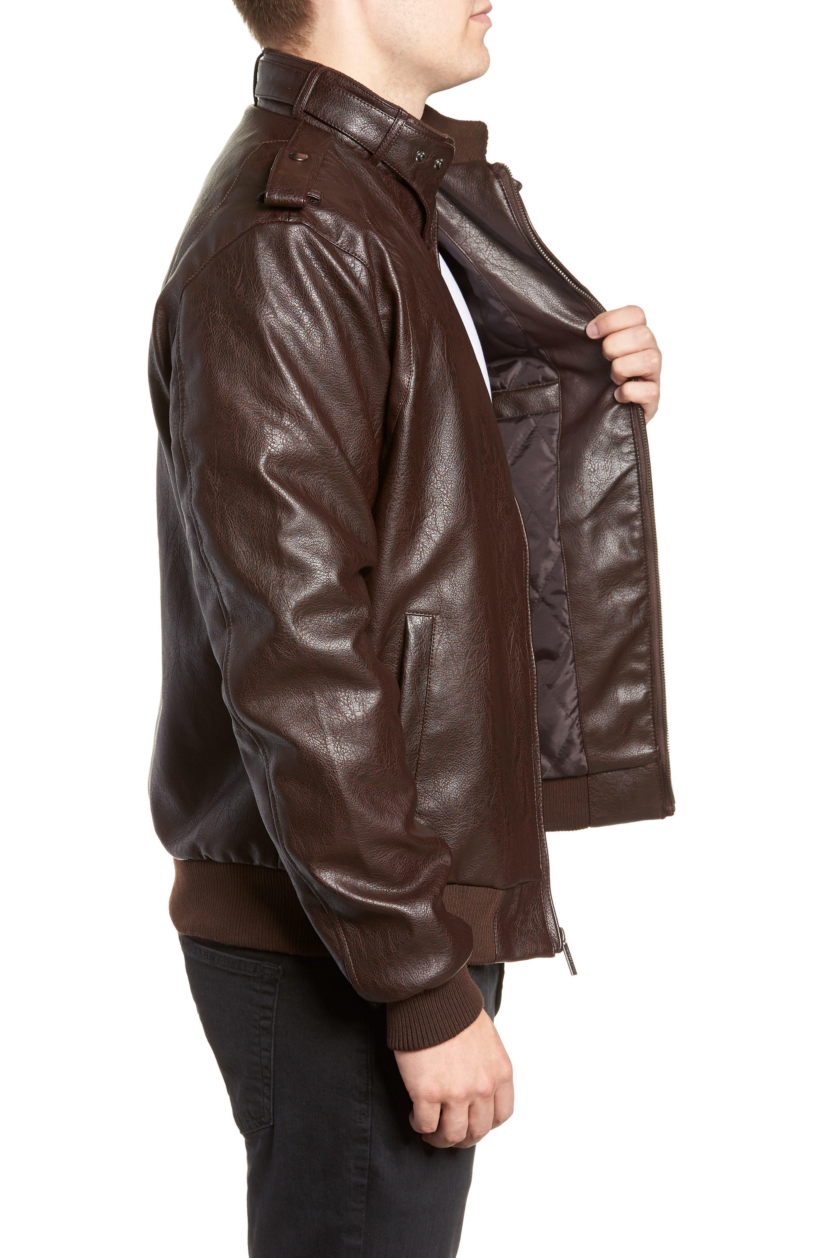 Vintage Faux Leather Racer Jacket,                             Alternate thumbnail 3, color,                             DISTRESSED BROWN