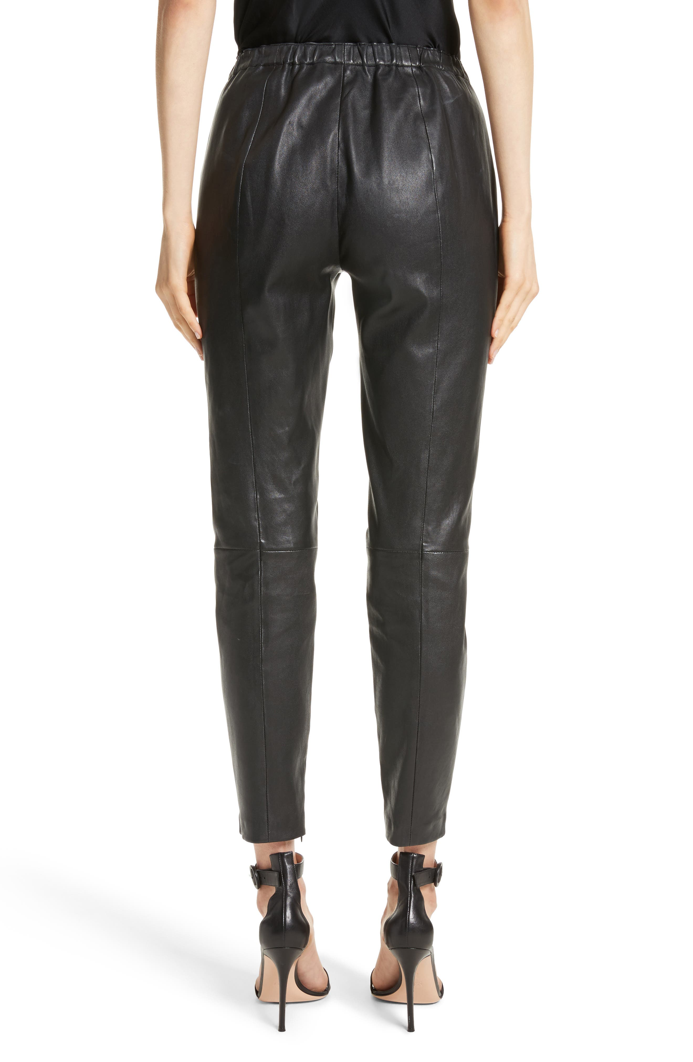 Stretch Nappa Leather Crop Pants,                             Alternate thumbnail 2, color,                             CAVIAR