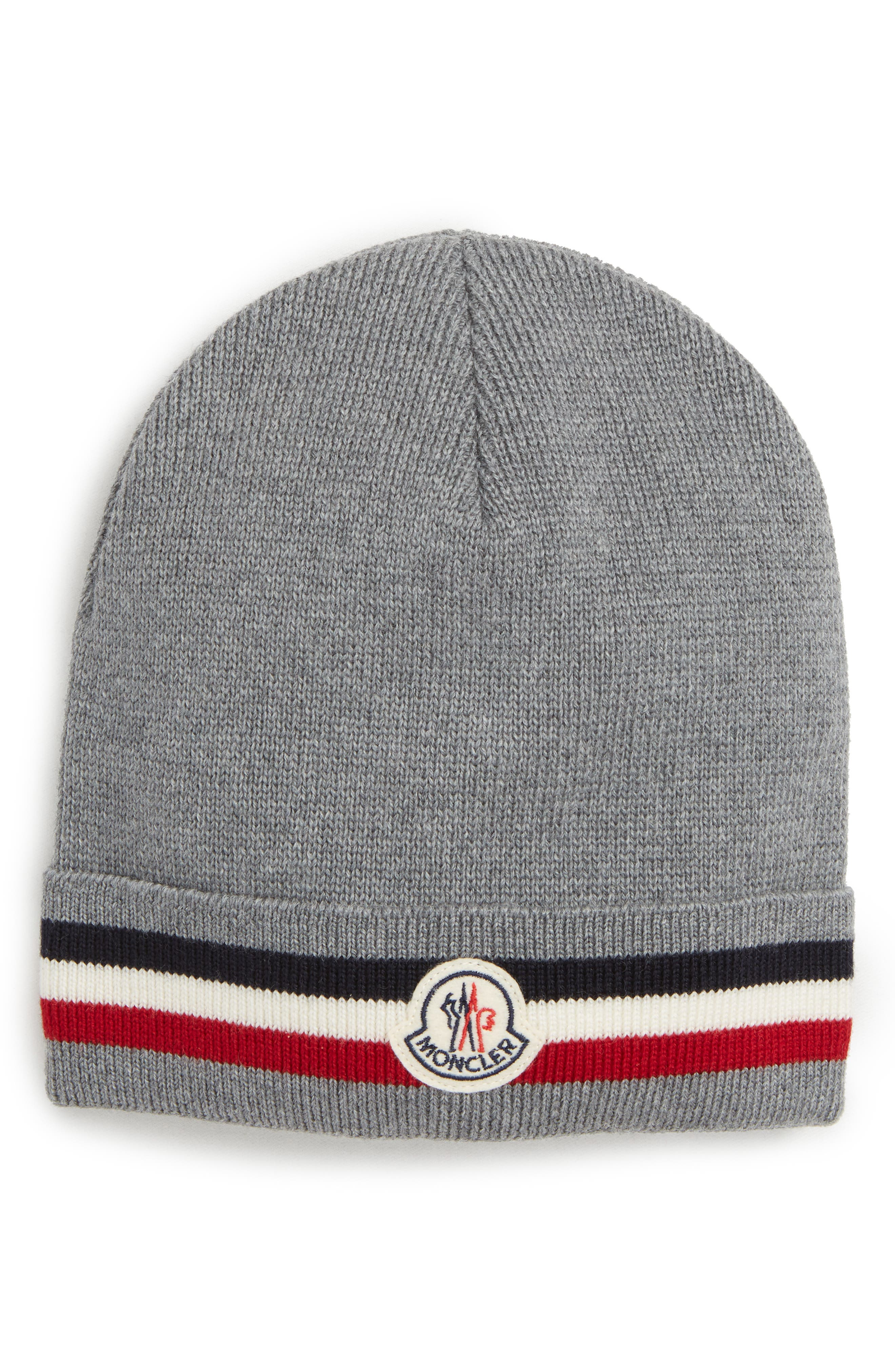Berretto Stripe Wool Beanie,                             Main thumbnail 1, color,                             LIGHT GREY