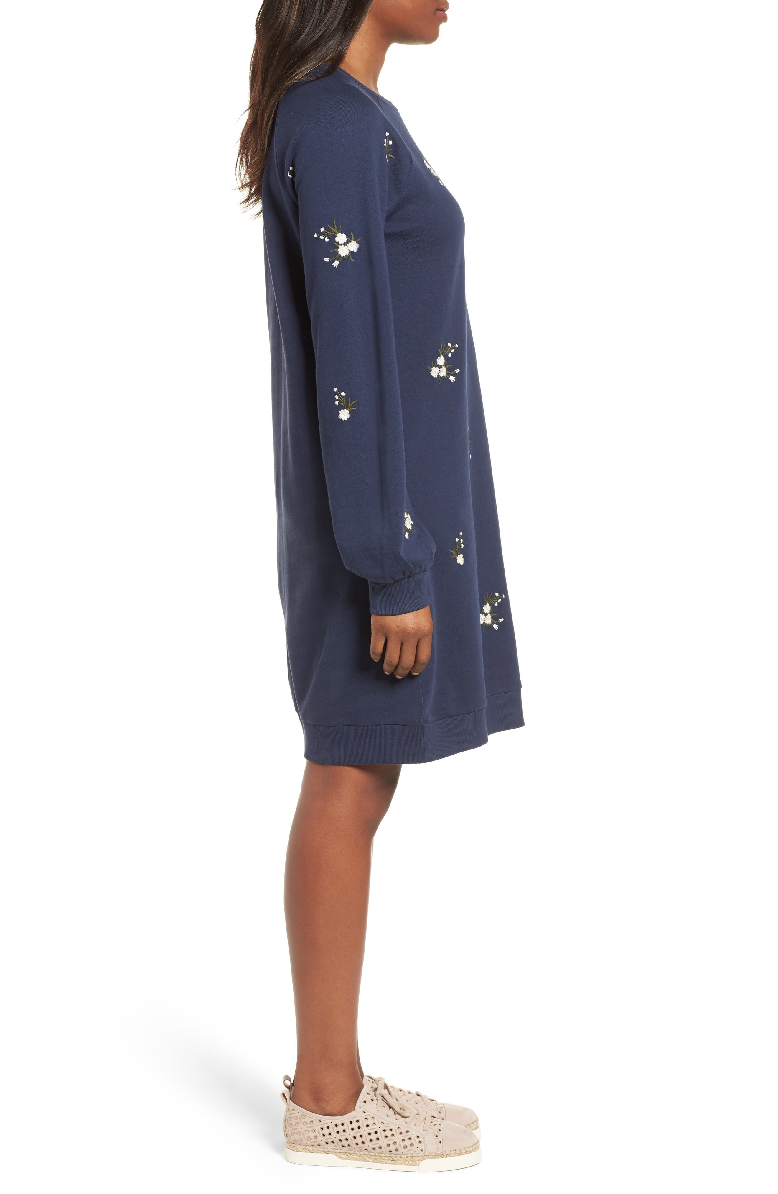 Embroidered Sweatshirt Dress,                             Alternate thumbnail 3, color,                             NAVY INDIGO GAYLE EMB