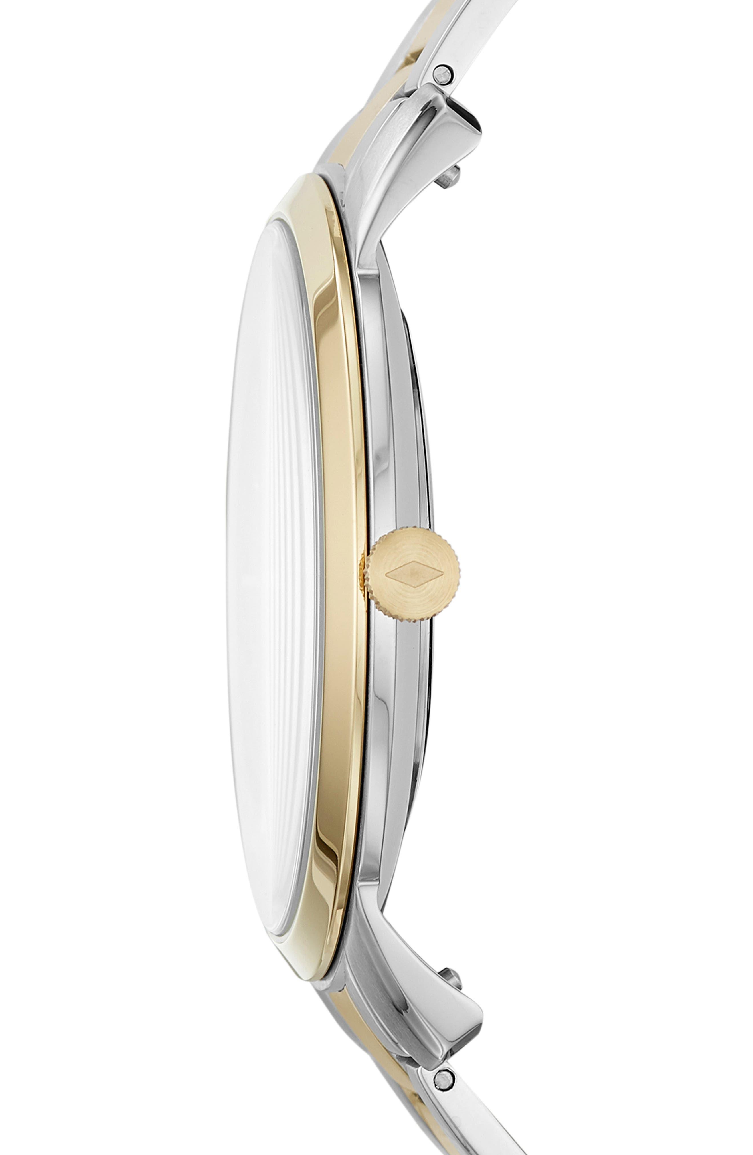 Minimalist Carbon Series Bracelet Watch, 44mm,                             Alternate thumbnail 2, color,                             GOLD/ BLACK/ SILVER