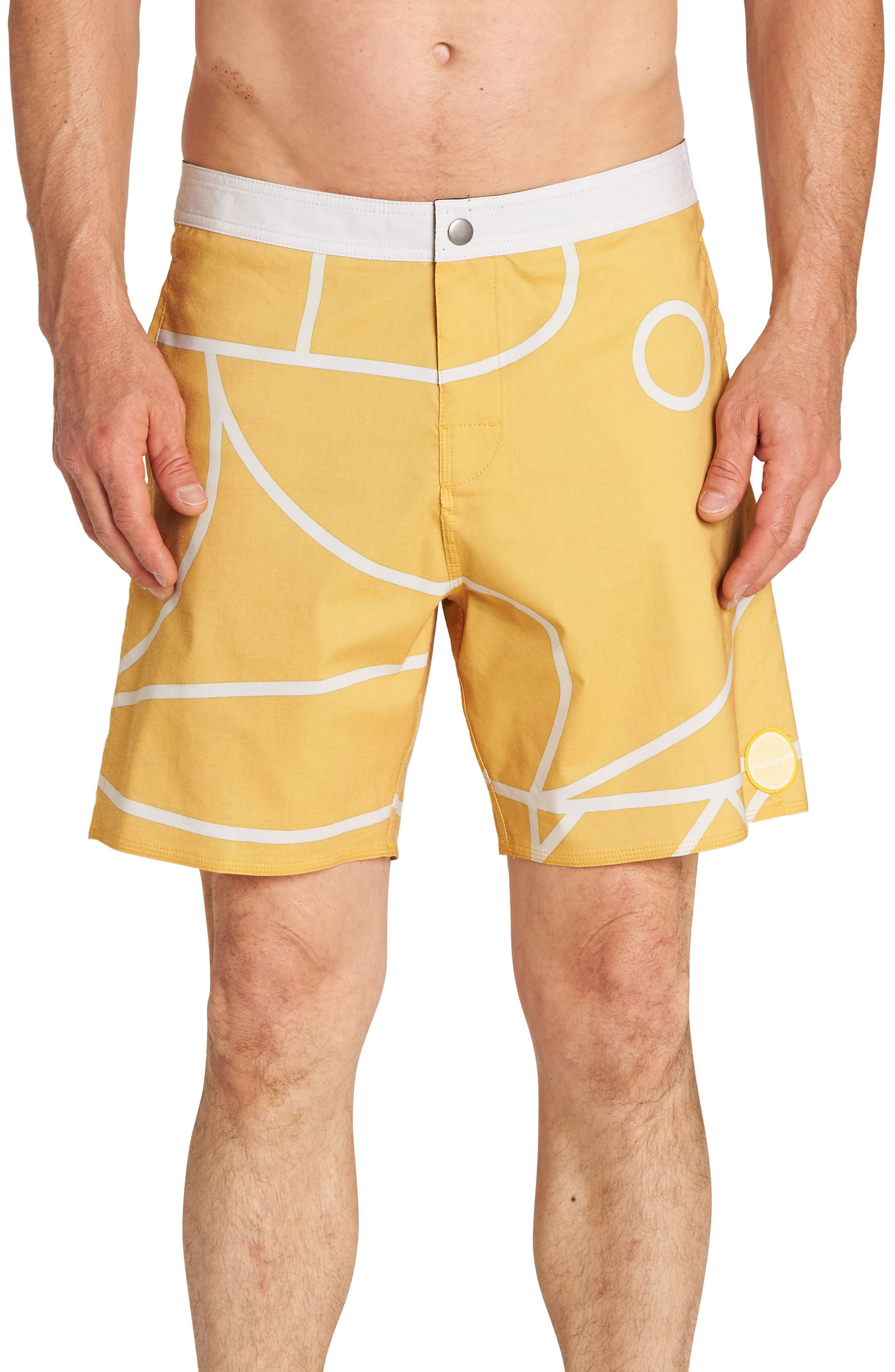 Babylonian Pearl Swim Trunks,                         Main,                         color, MUSTARD
