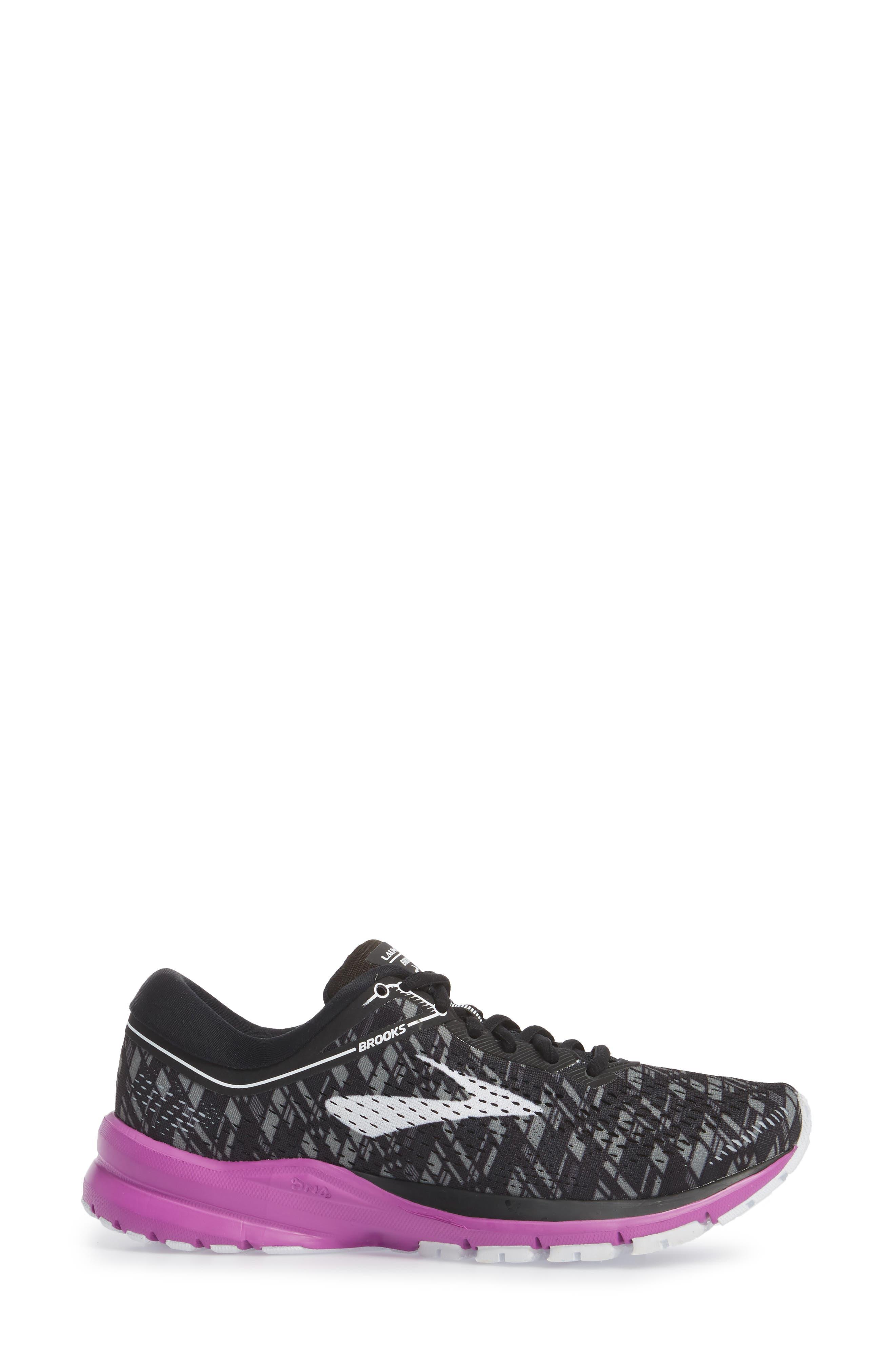 Launch 5 Running Shoe,                             Alternate thumbnail 3, color,                             BLACK/ PURPLE/ PRINT