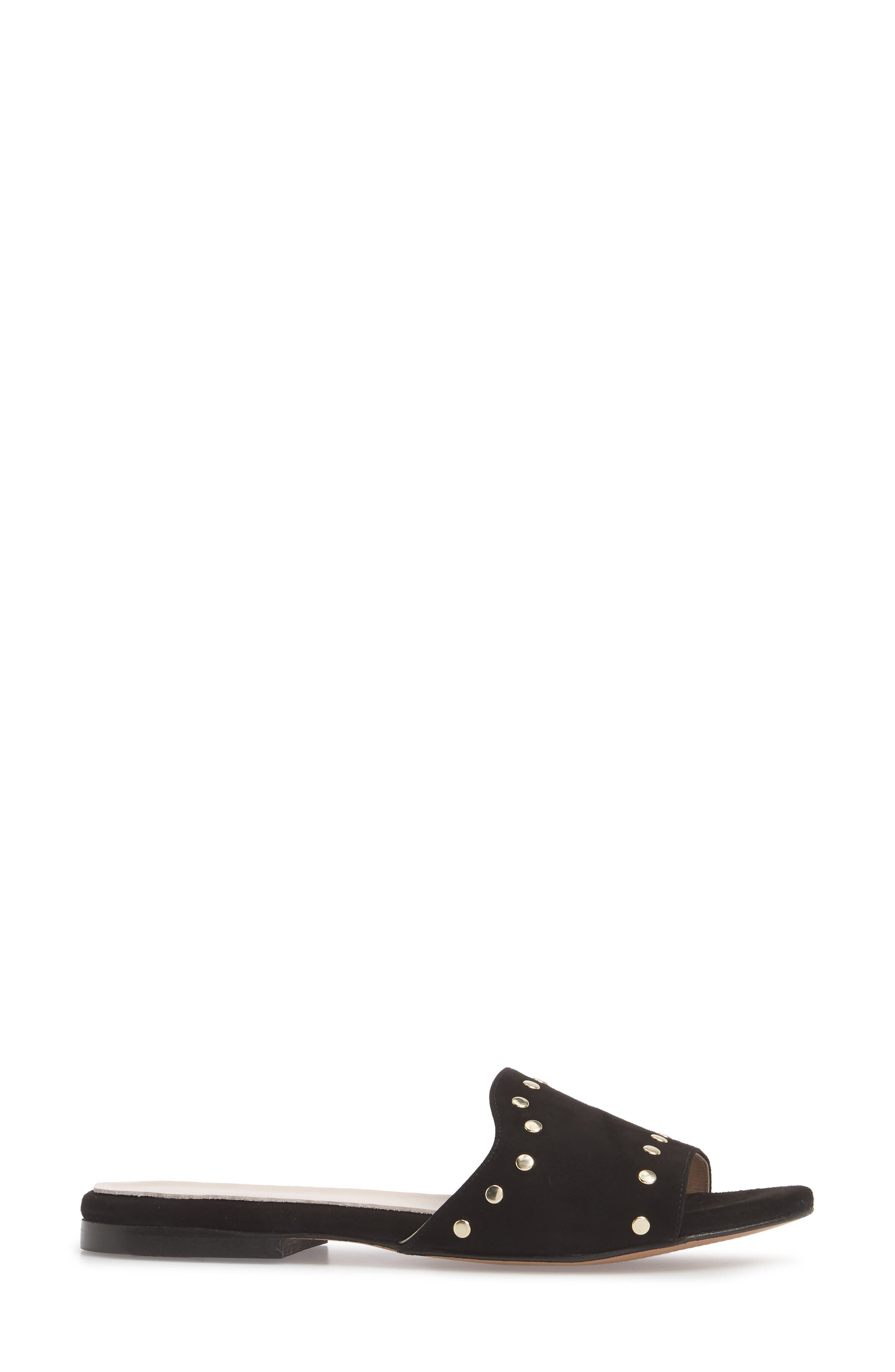 Mira Slide Sandal,                             Alternate thumbnail 3, color,                             BLACK SUEDE