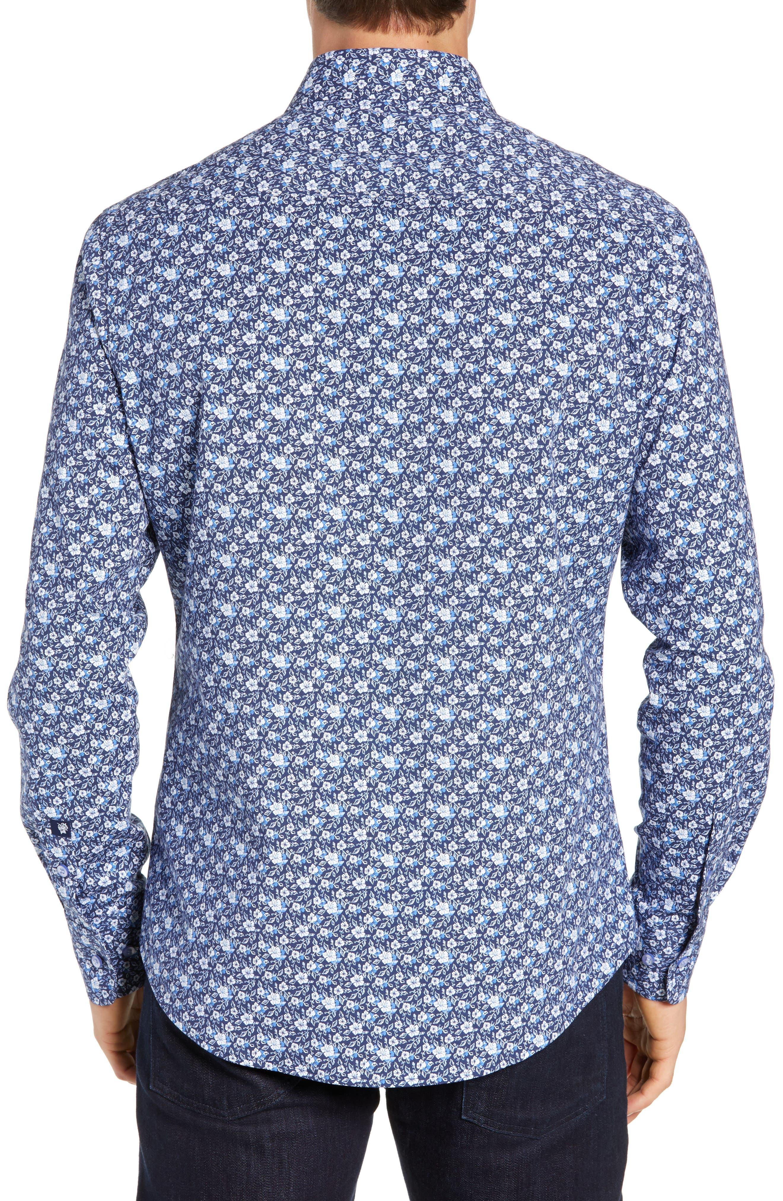 Regular Fit Floral Print Knit Sport Shirt,                             Alternate thumbnail 3, color,                             NAVY