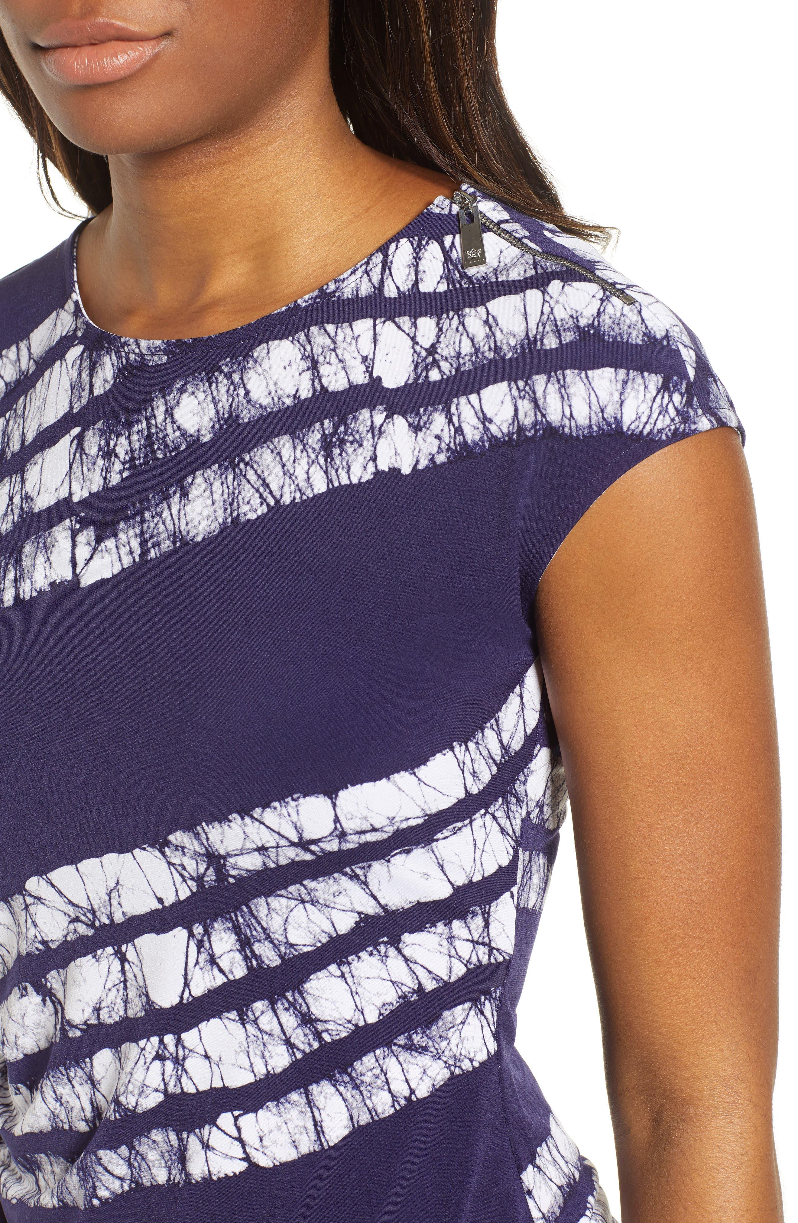 Zip Shoulder Ruched Shibori Top,                             Alternate thumbnail 4, color,