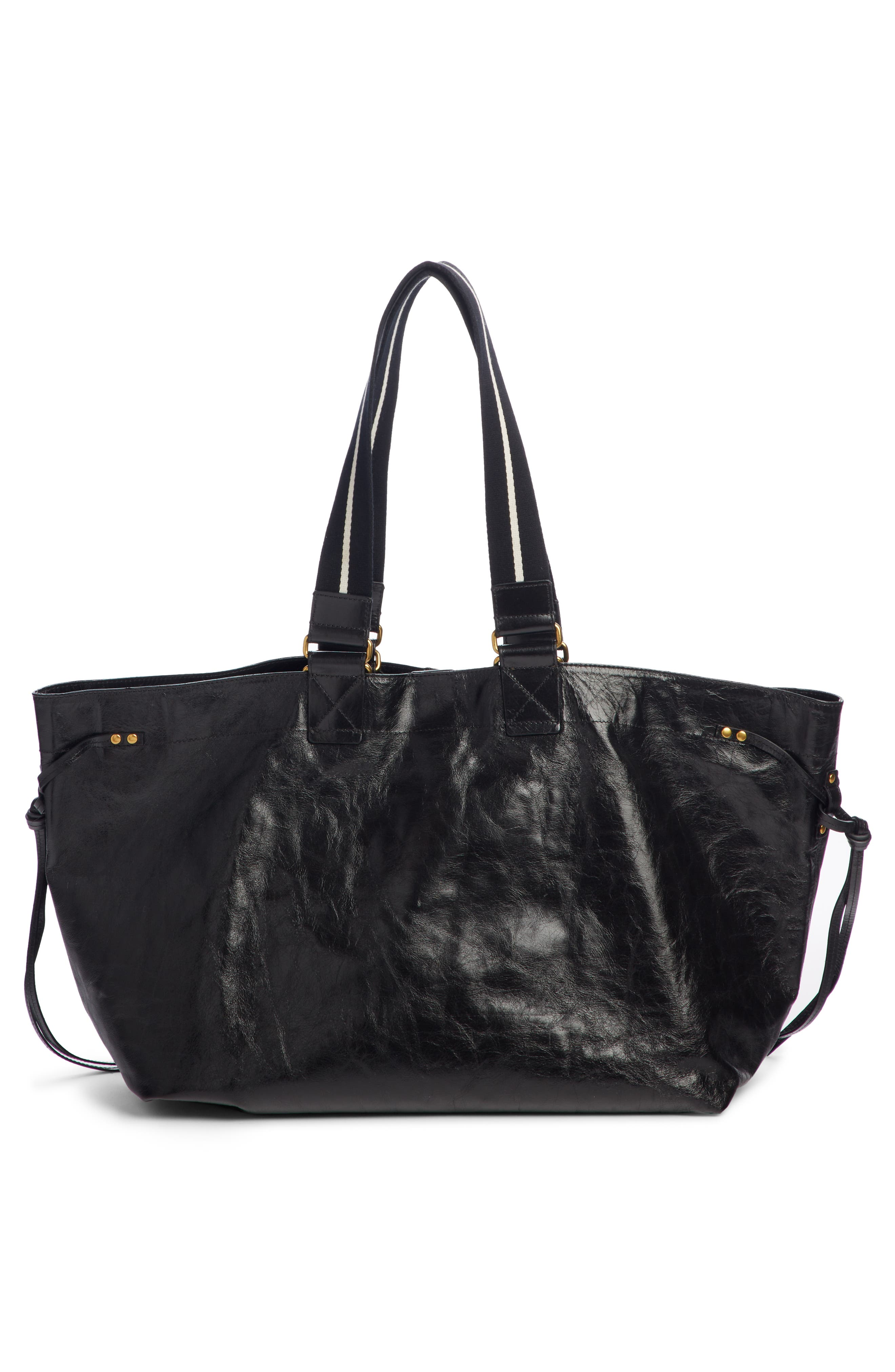 Wardy New Leather Shopper,                             Alternate thumbnail 4, color,                             BLACK