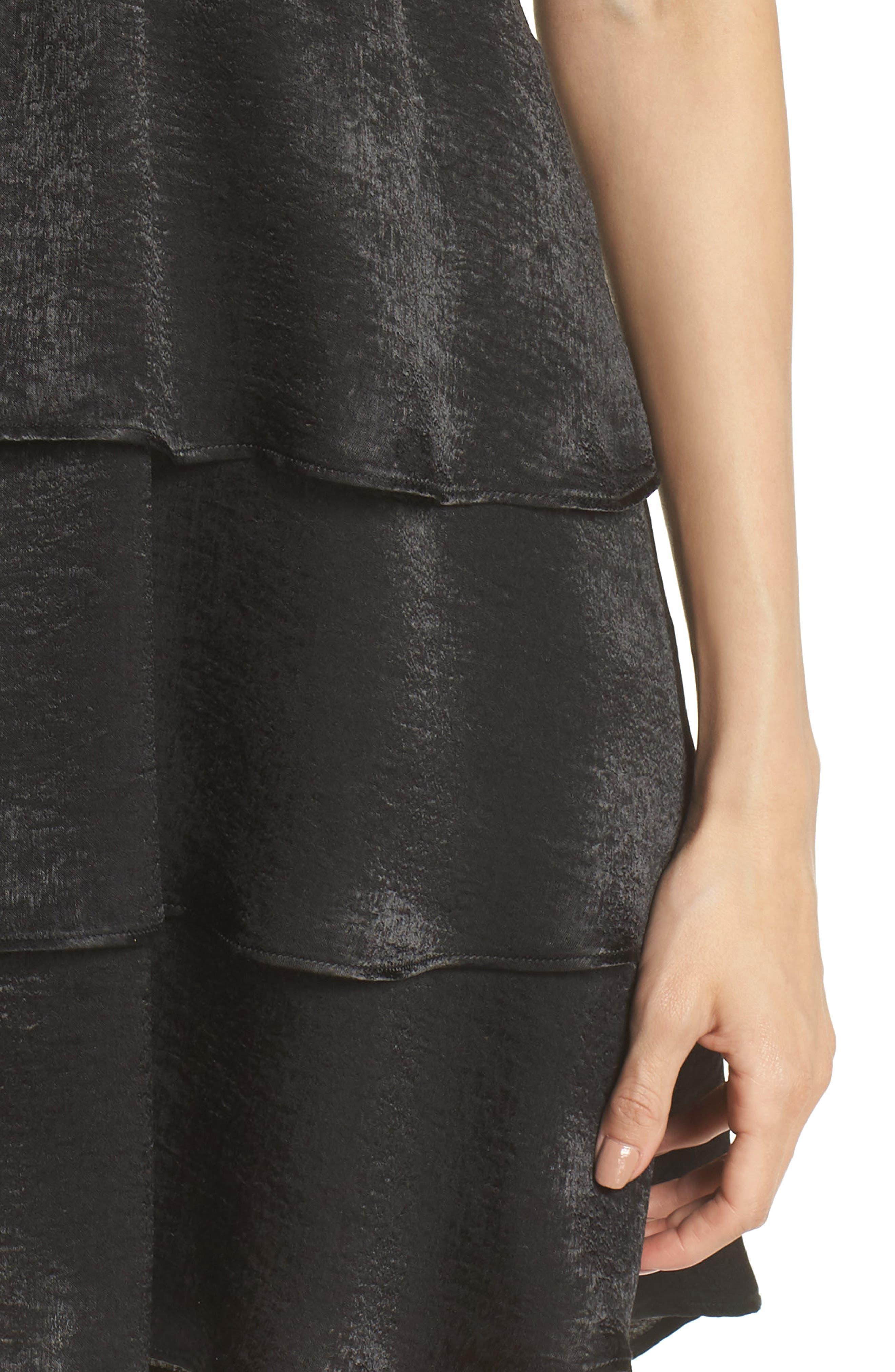 Dulce Minidress,                             Alternate thumbnail 4, color,                             BLACK SHEEN
