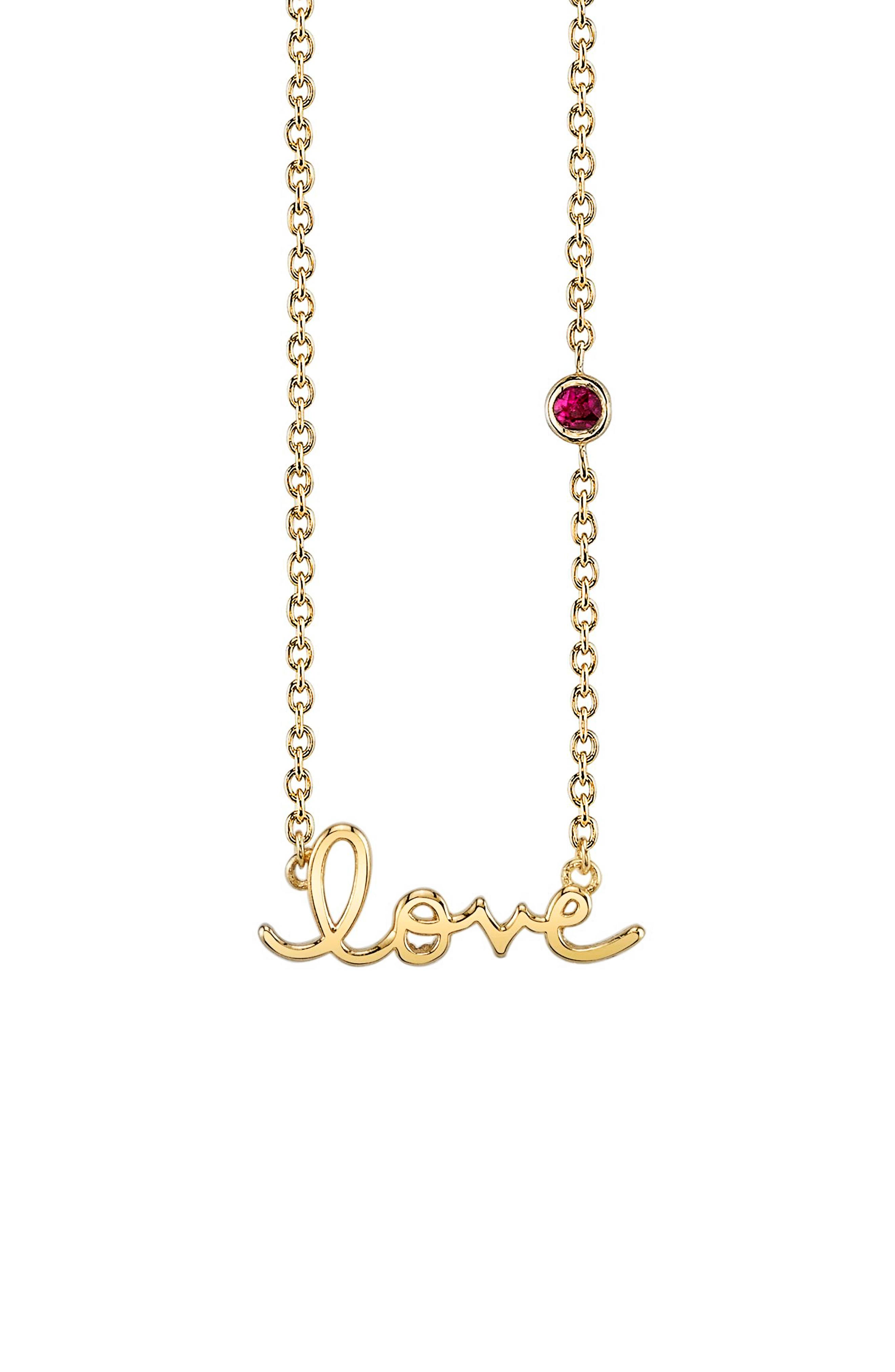 Love Necklace with Ruby,                             Main thumbnail 1, color,                             GOLD/ RUBY