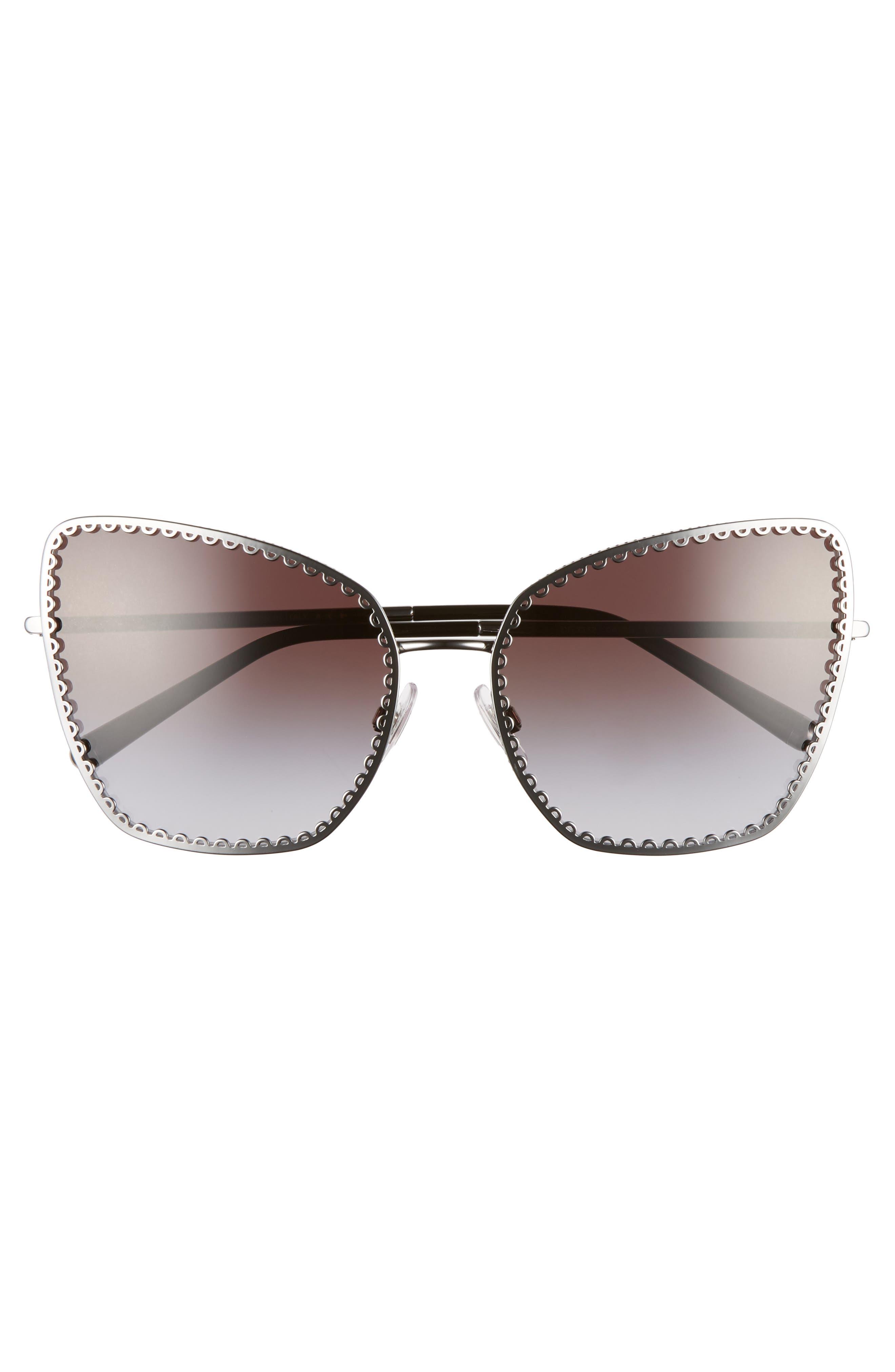 Sacred Heart 61mm Gradient Cat Eye Sunglasses,                             Alternate thumbnail 3, color,                             GUNMETAL GRADIENT