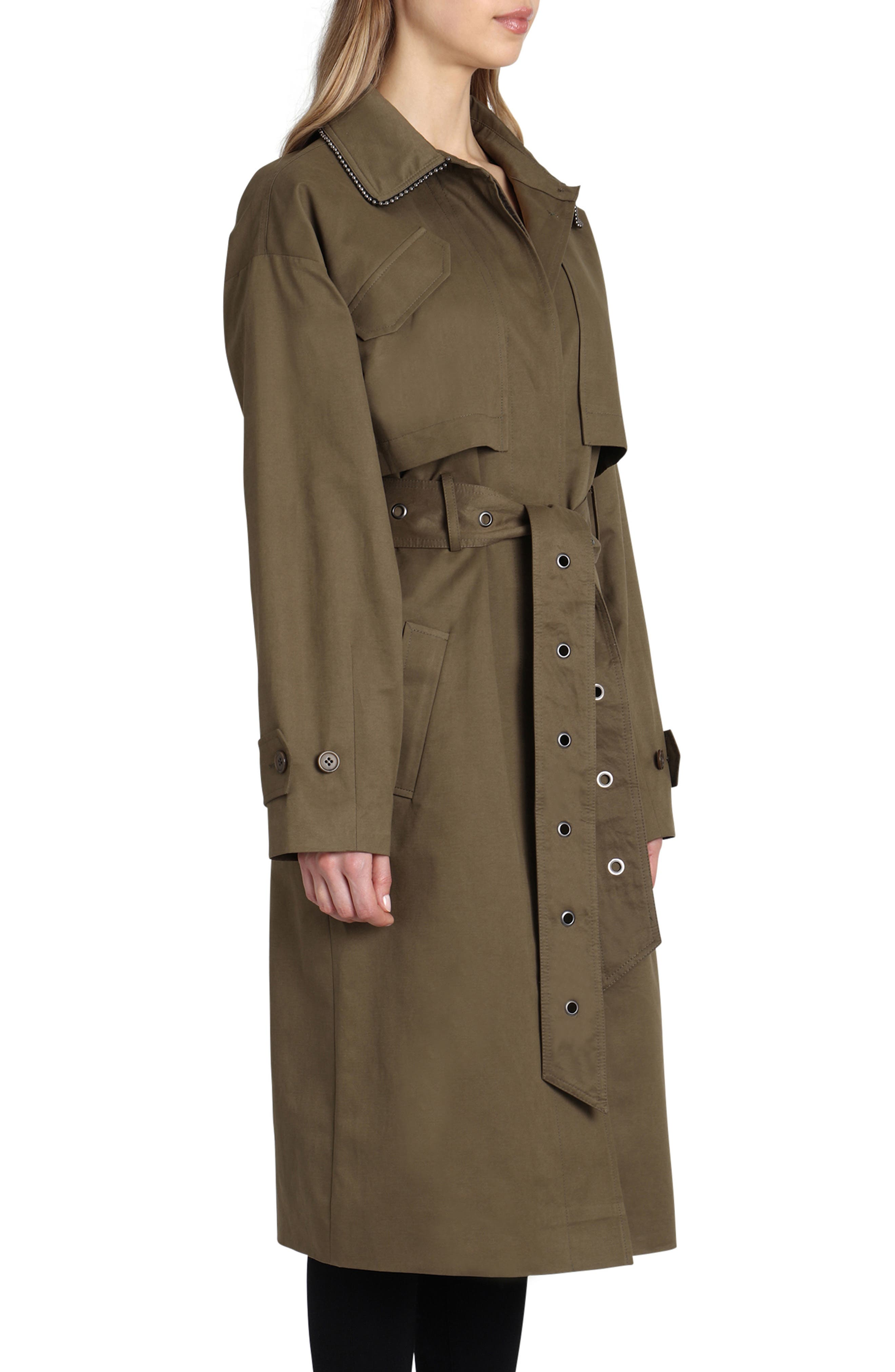 Badgley Mischka Cotton Blend Utility Trench Coat,                             Alternate thumbnail 3, color,                             301