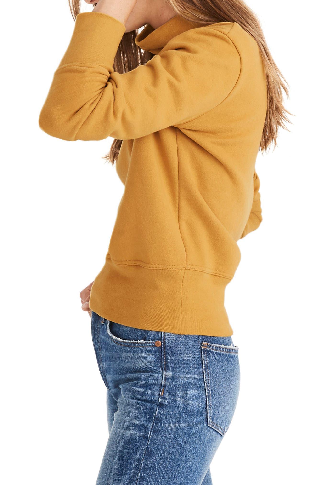 Turtleneck Sweatshirt,                             Alternate thumbnail 3, color,                             NECTAR GOLD