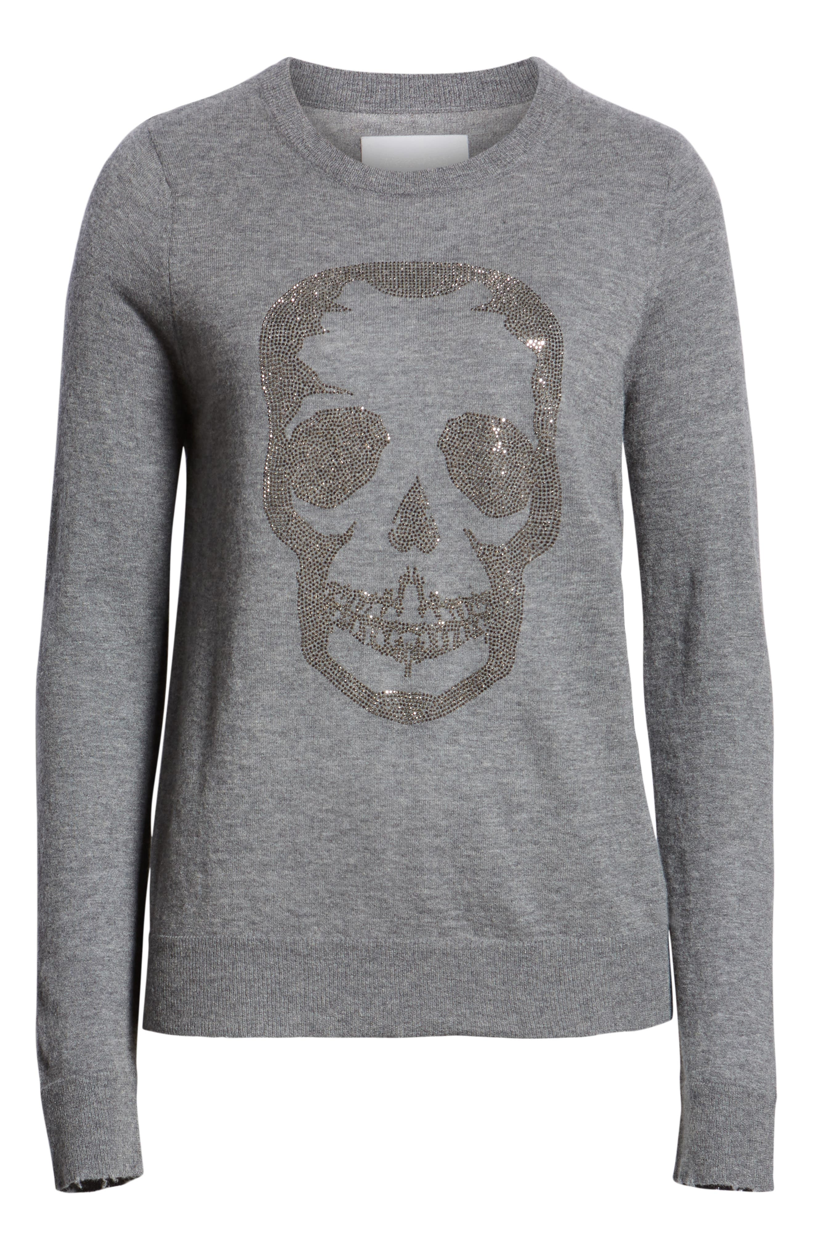 Miss Bis Skull Cashmere Tee,                             Alternate thumbnail 6, color,                             GRIS