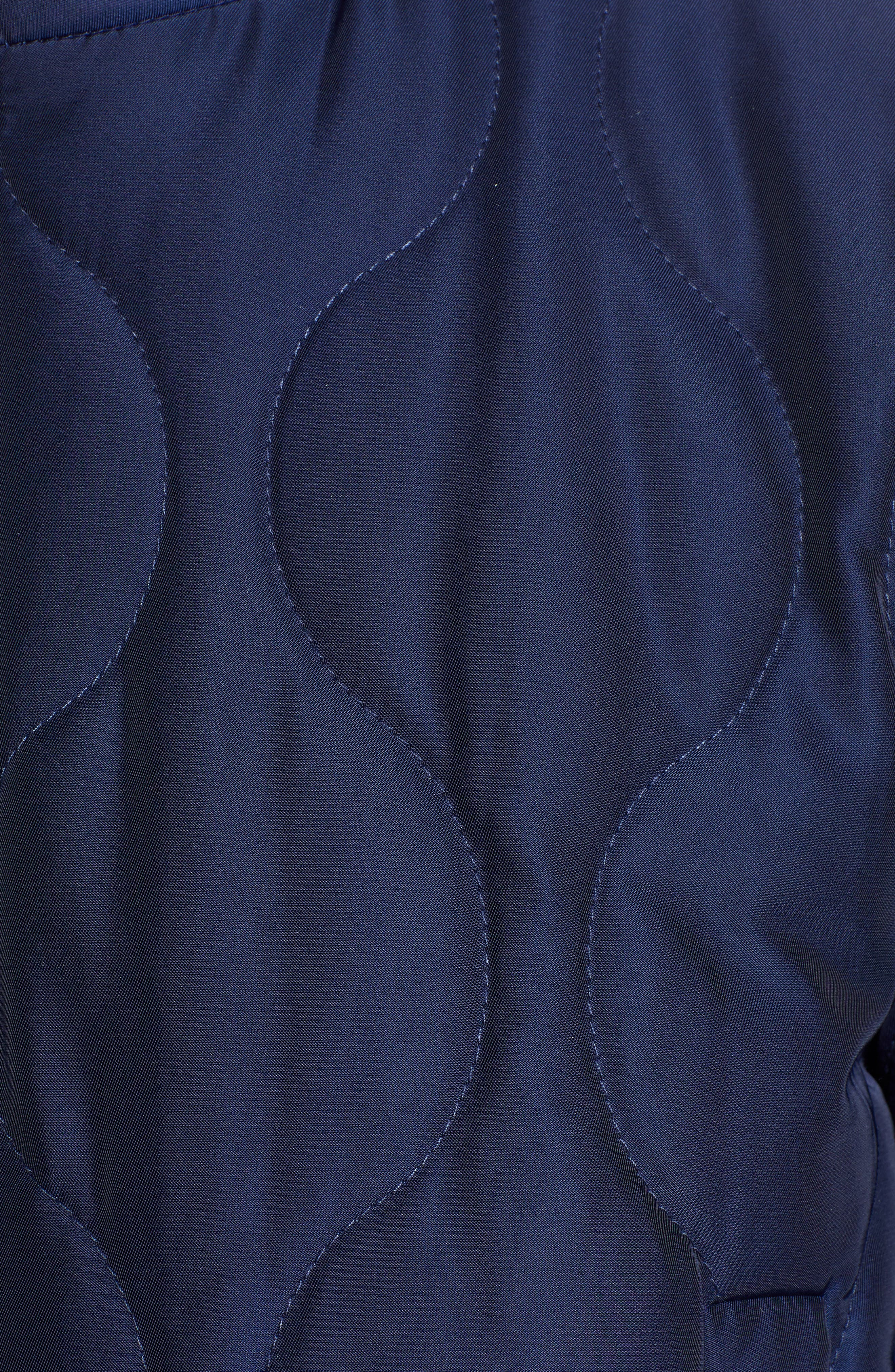 Satin Crop Puffer Jacket,                             Alternate thumbnail 7, color,                             NAVY MARITIME