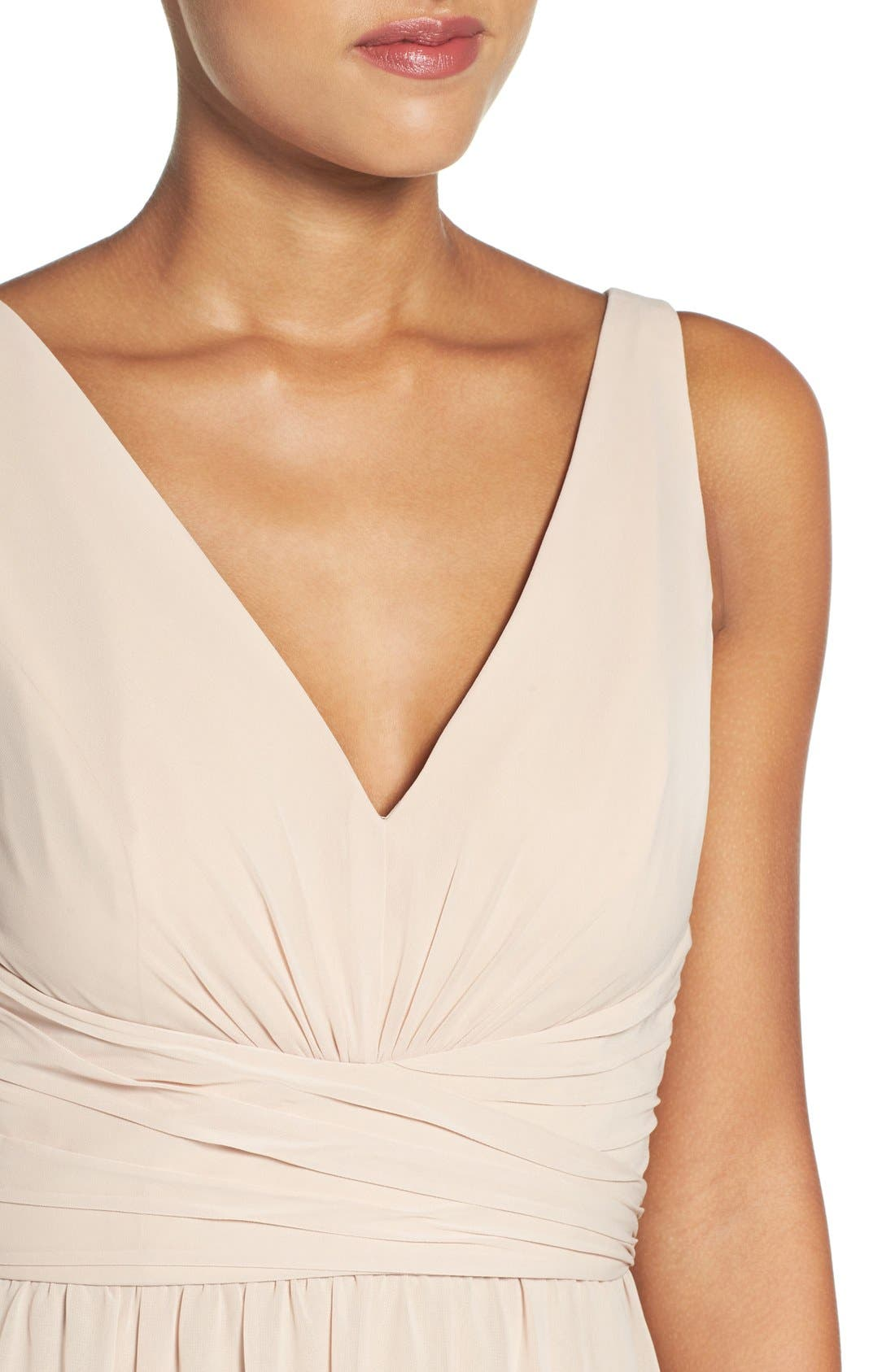 'Justine' Double V-Neck Chiffon Gown,                             Alternate thumbnail 5, color,                             220