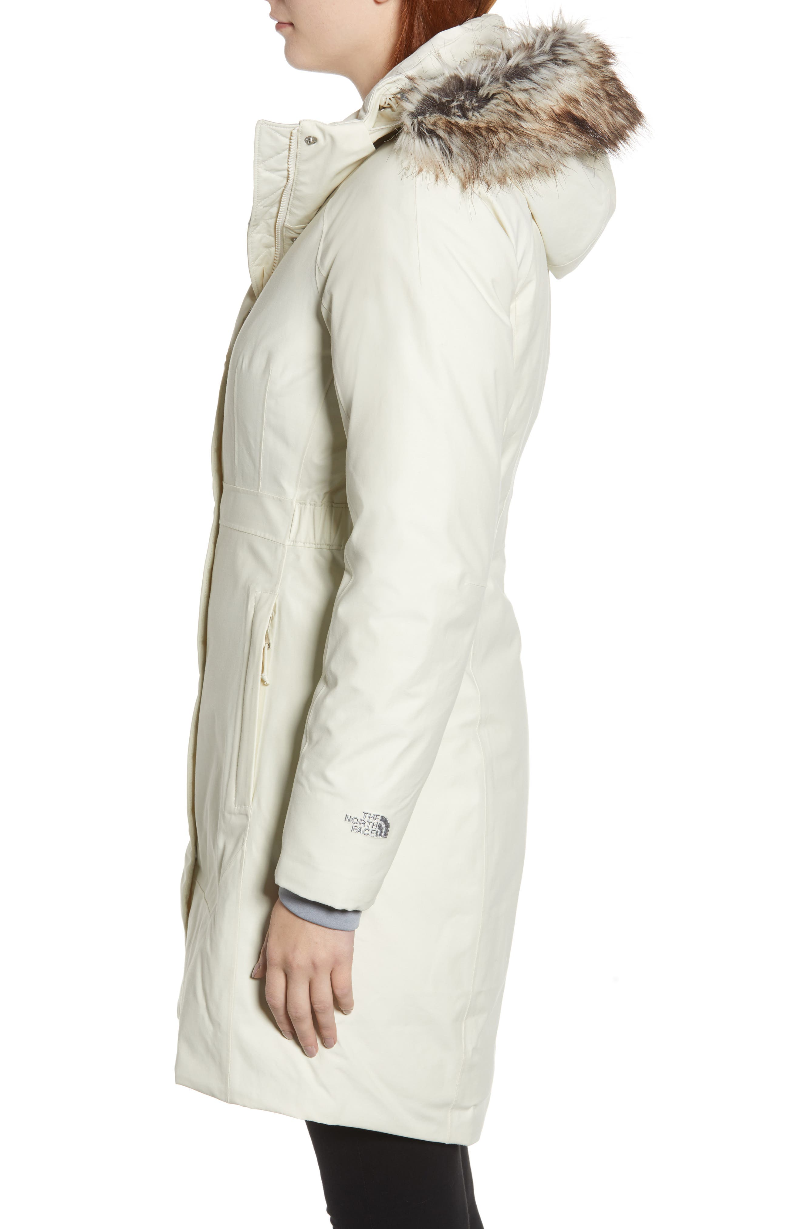 Arctic II Waterproof 550 Fill Power Down Parka with Faux Fur Trim,                             Alternate thumbnail 3, color,                             VINTAGE WHITE