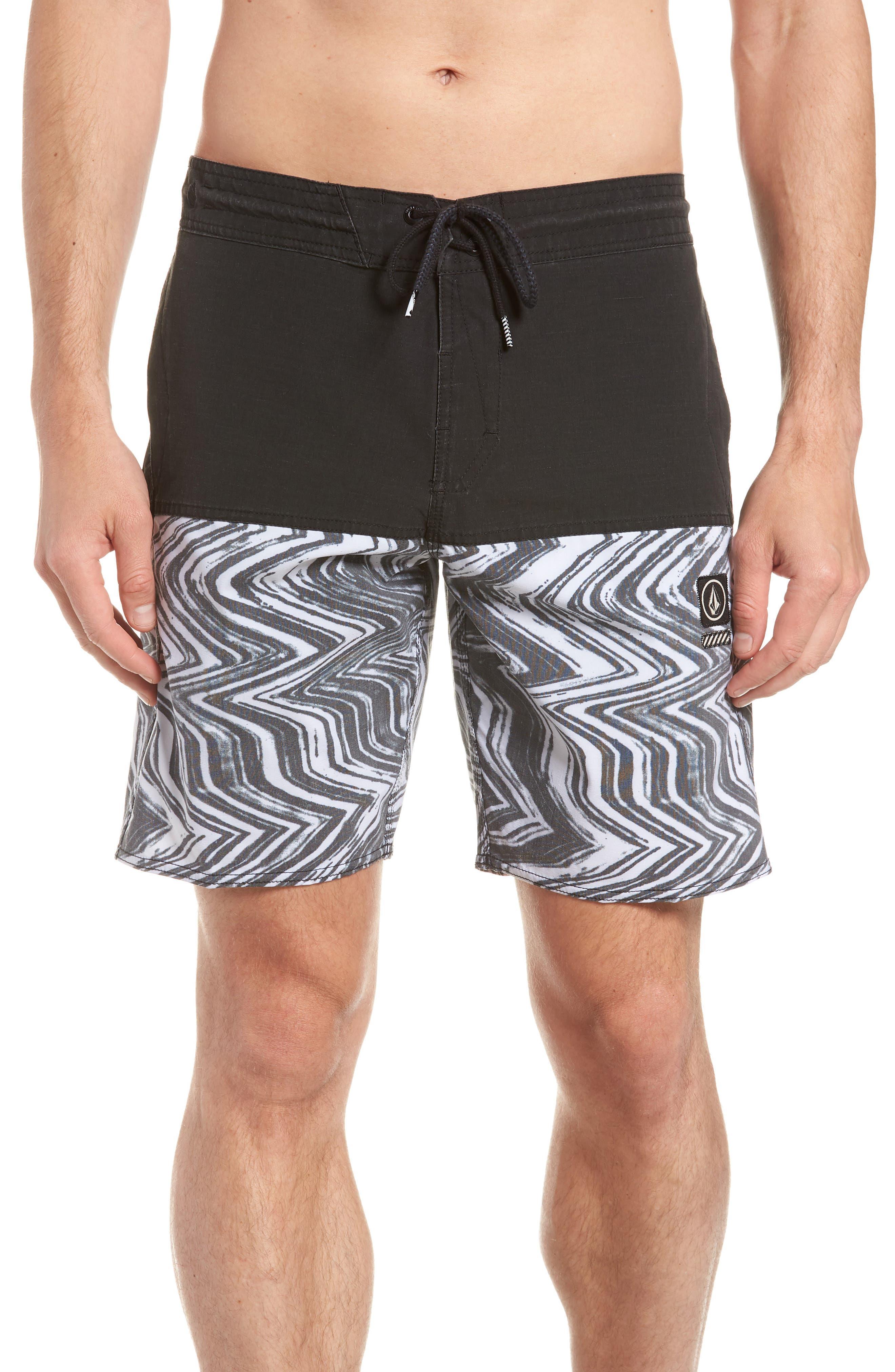 Vibes Half Stoney Board Shorts,                             Main thumbnail 1, color,                             BLACK