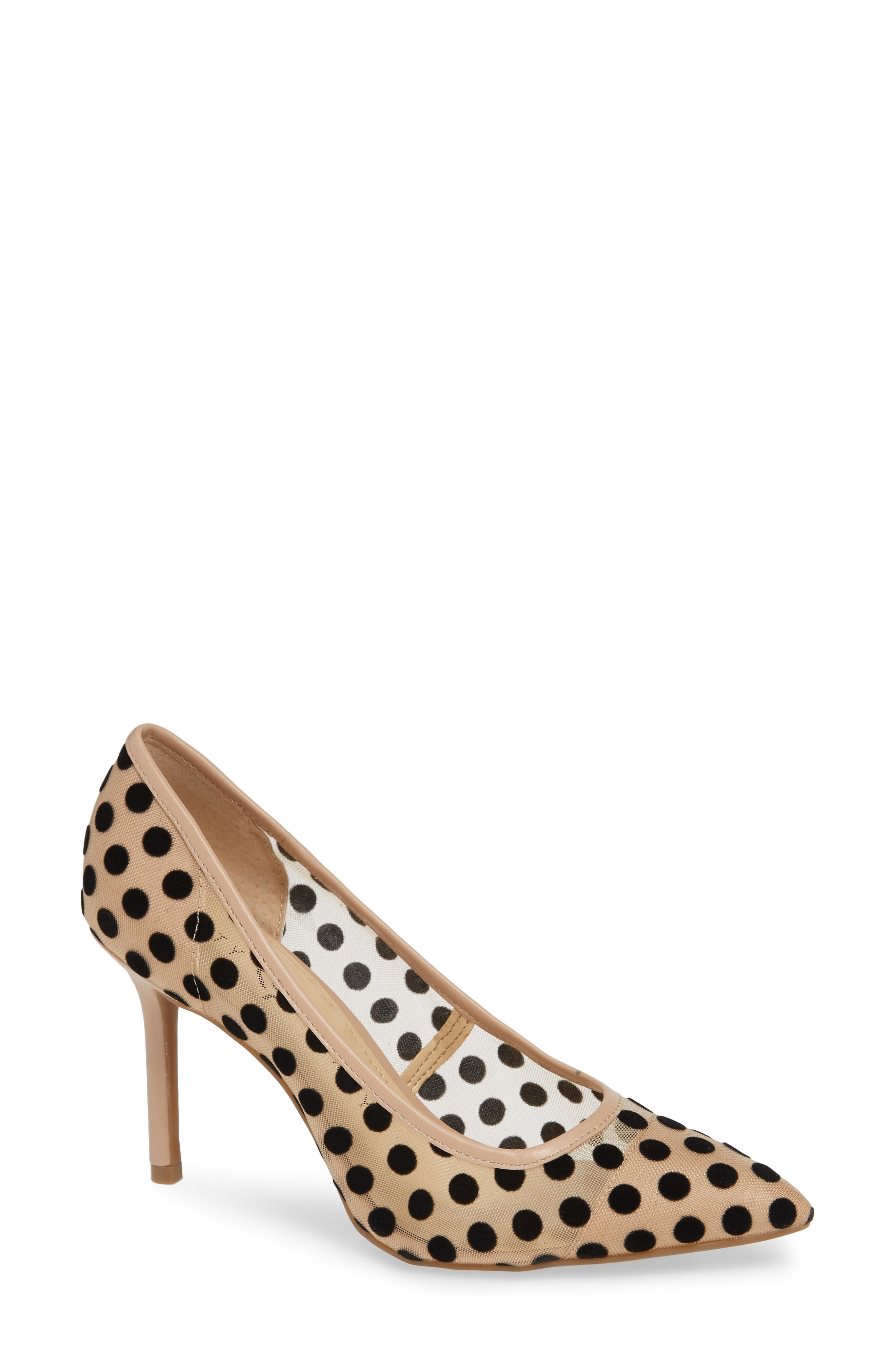 KATY PERRY Pointy Toe Pump in Polka Dot Nude