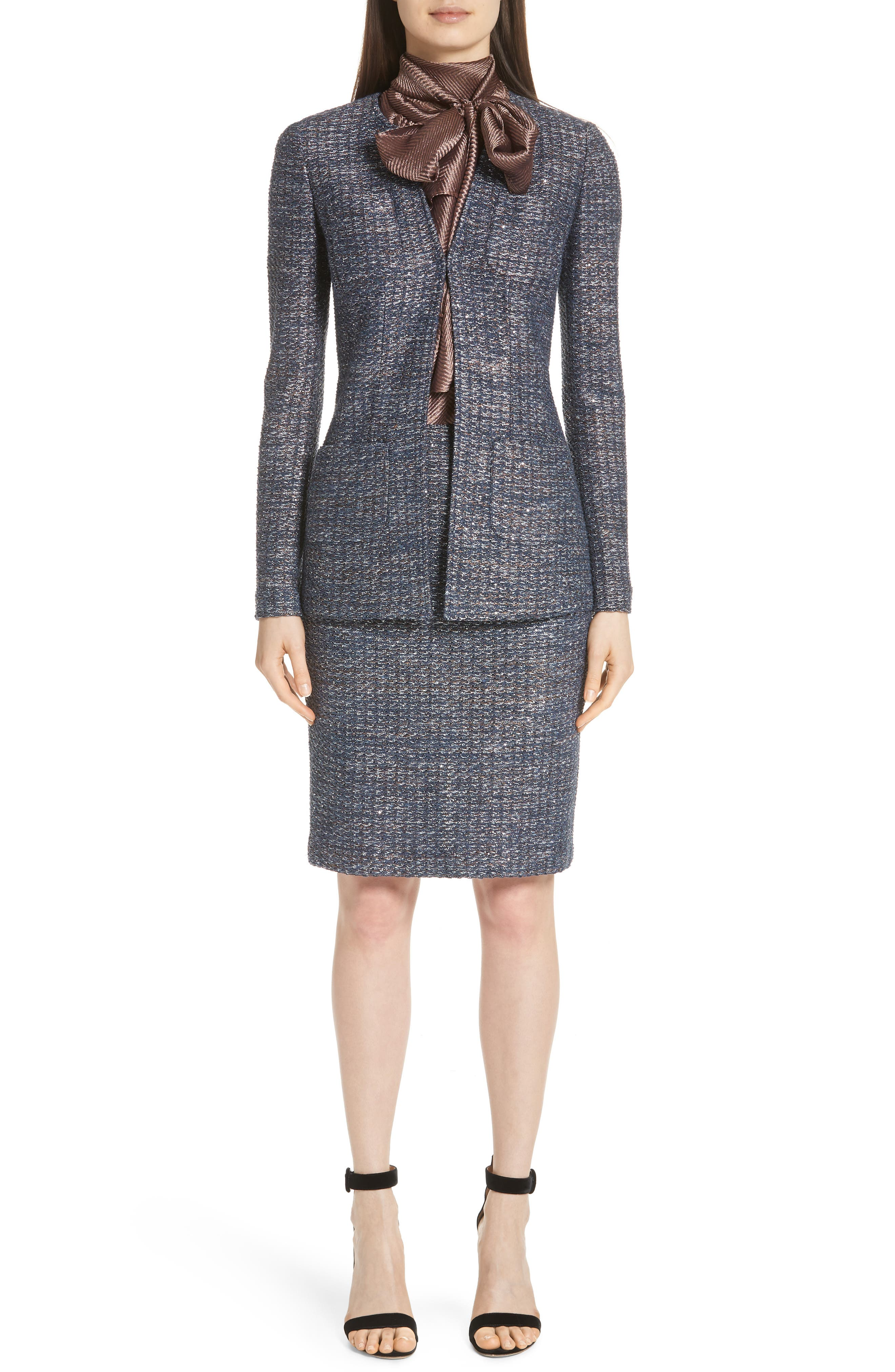 Copper Sequin Tweed Knit Jacket,                             Alternate thumbnail 7, color,                             410