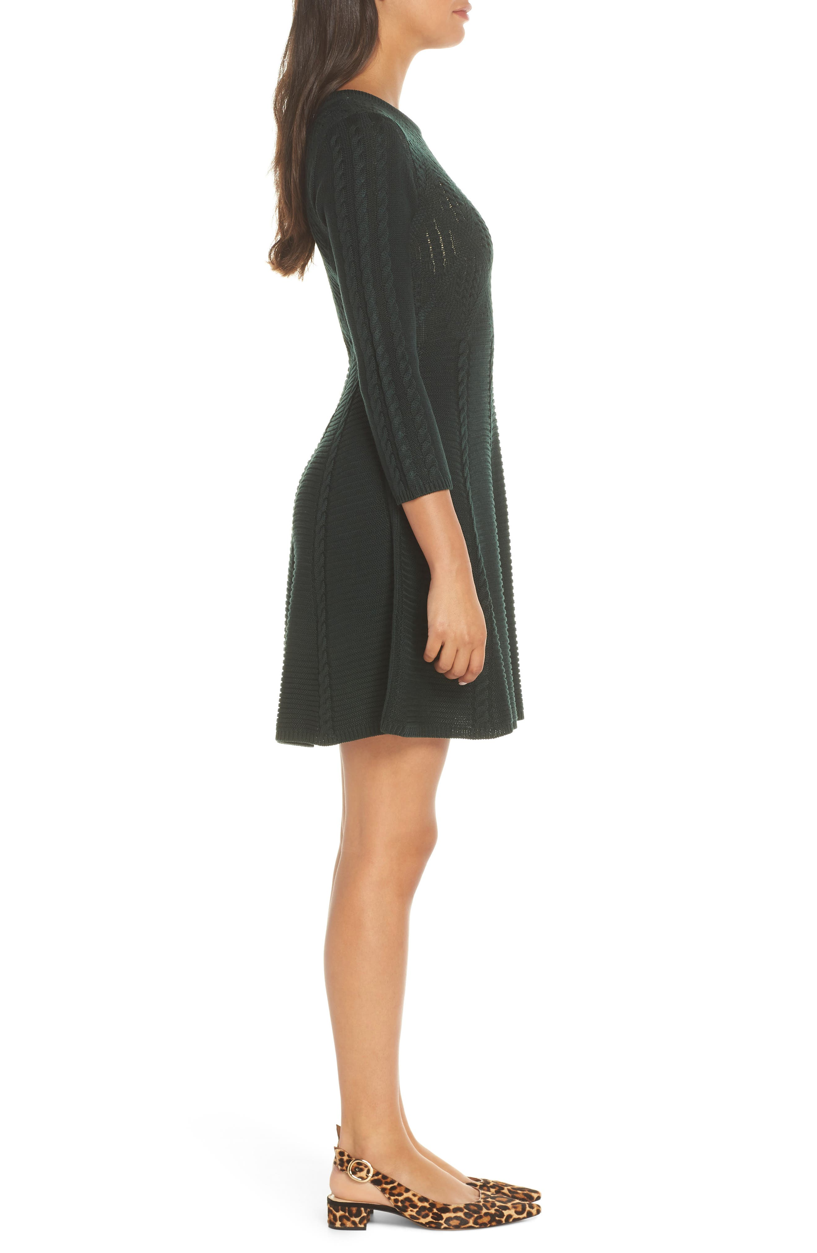 Cable Fit & Flare Sweater Dress,                             Alternate thumbnail 3, color,                             GREEN