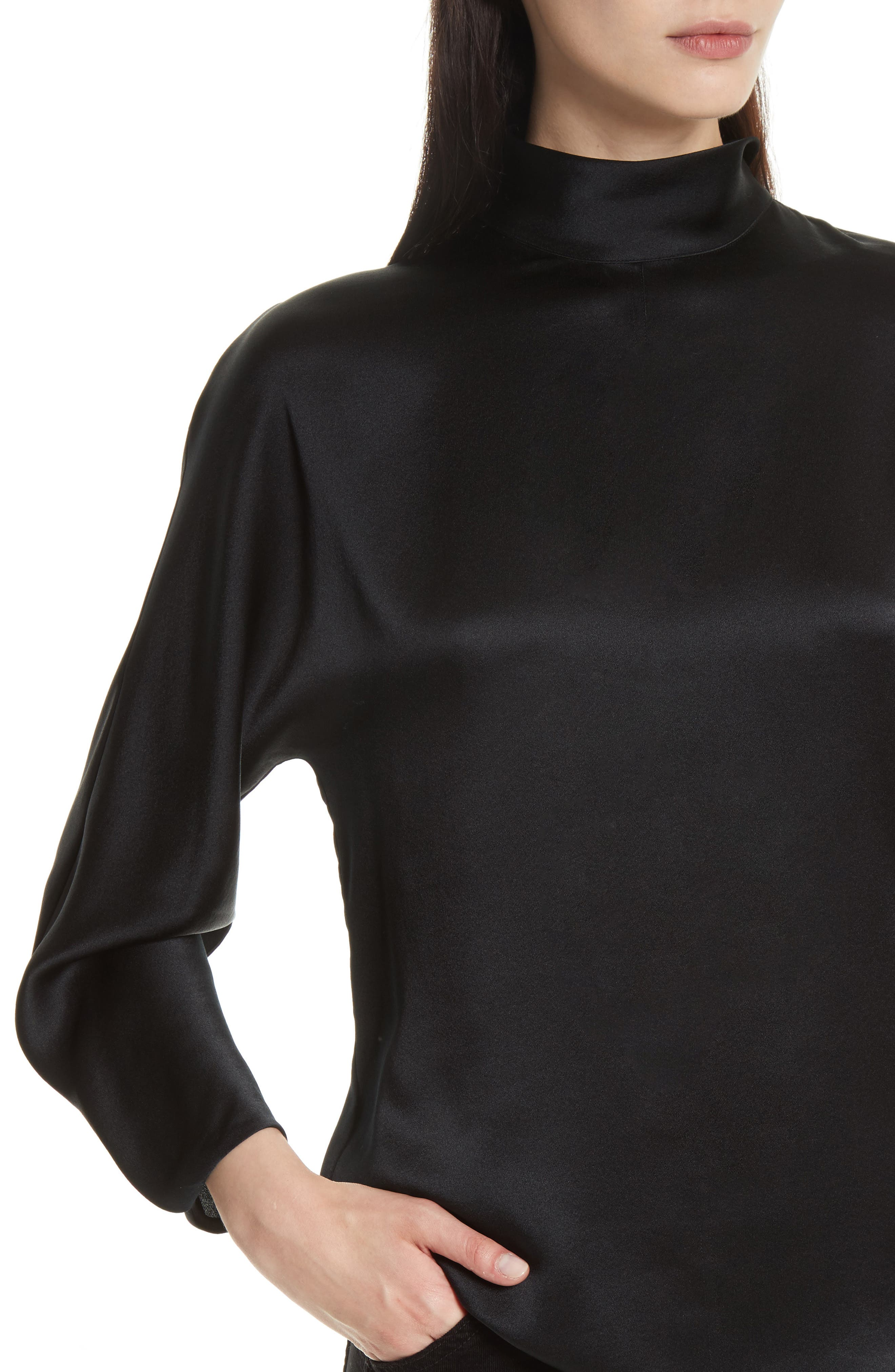 Band Collar Silk Blouse,                             Alternate thumbnail 4, color,                             001