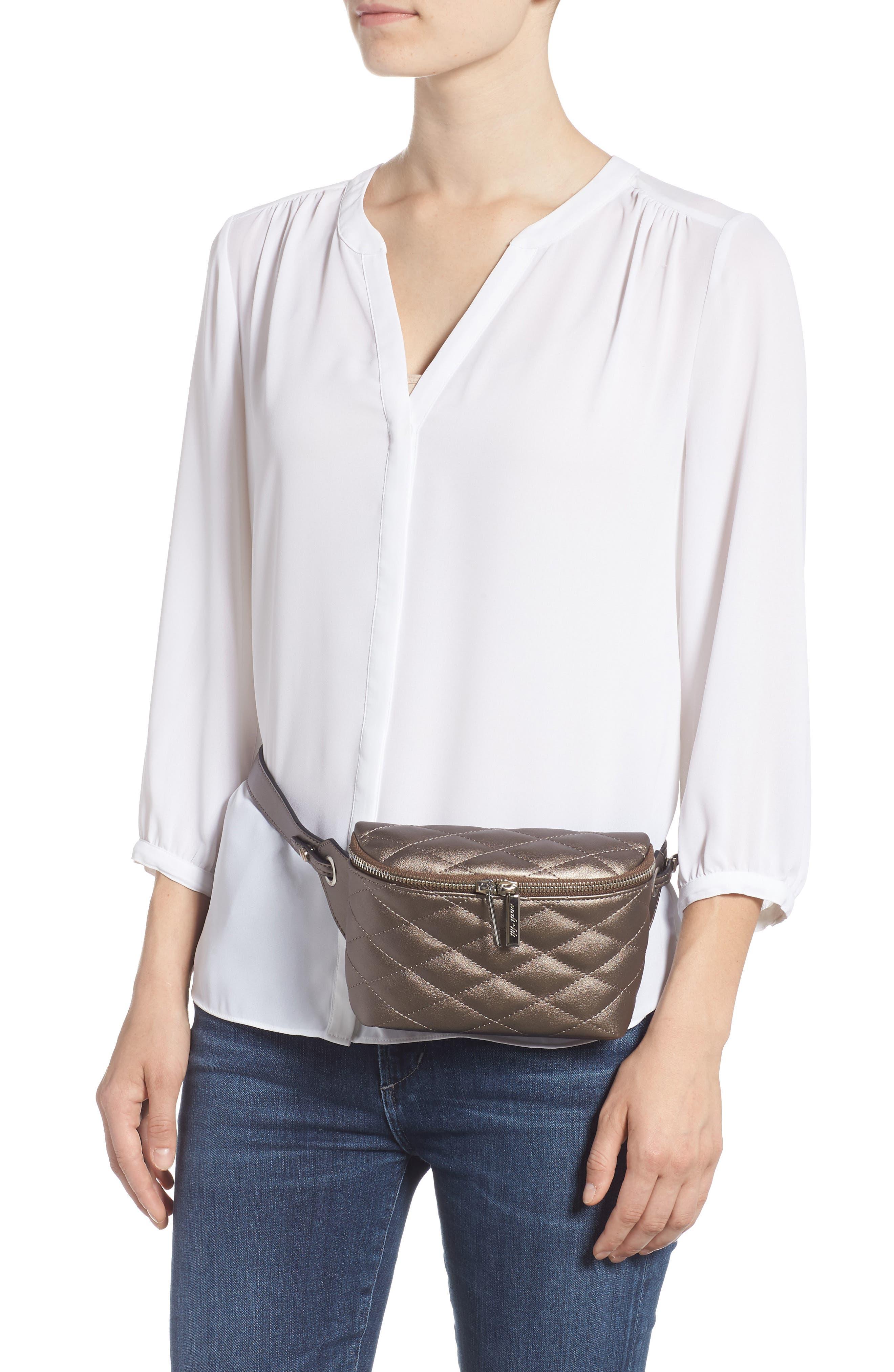 MALI + LILI,                             Faye Vegan Leather Quilted Belt Bag,                             Alternate thumbnail 2, color,                             PEWTER