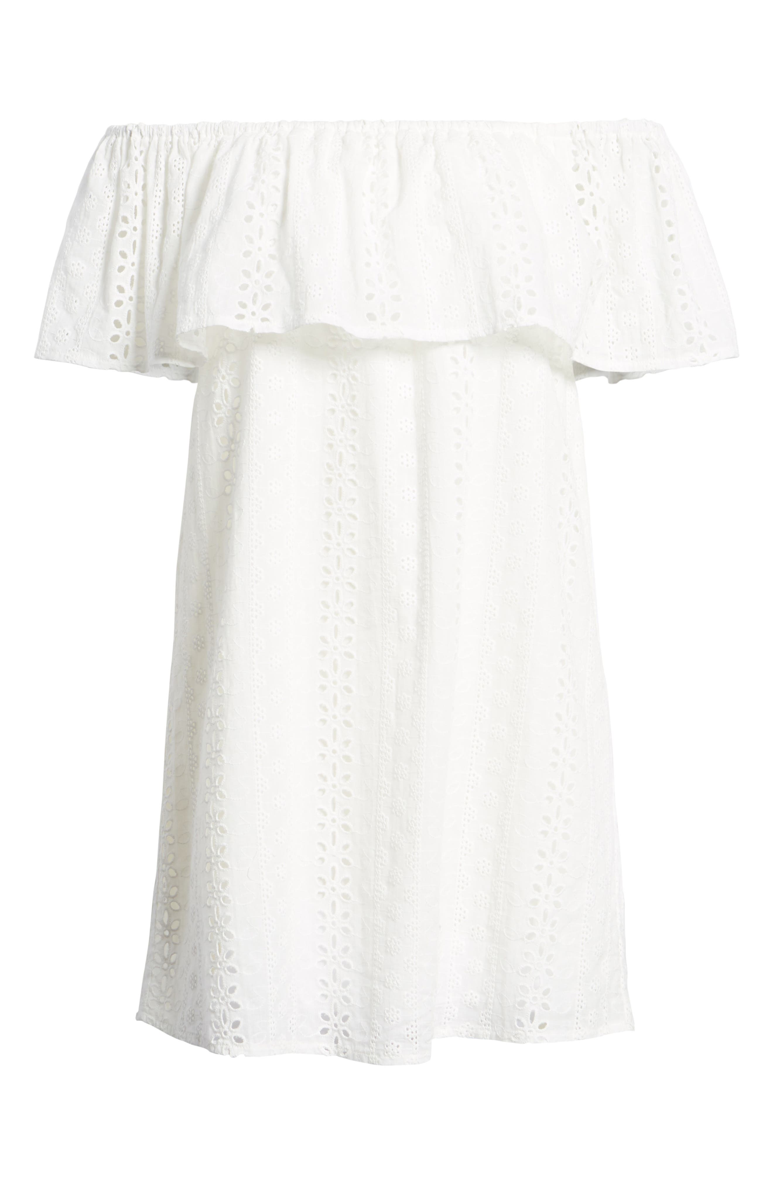 Bishop + Young Eyelet Ruffle Off the Shoulder Dress,                             Alternate thumbnail 7, color,                             100