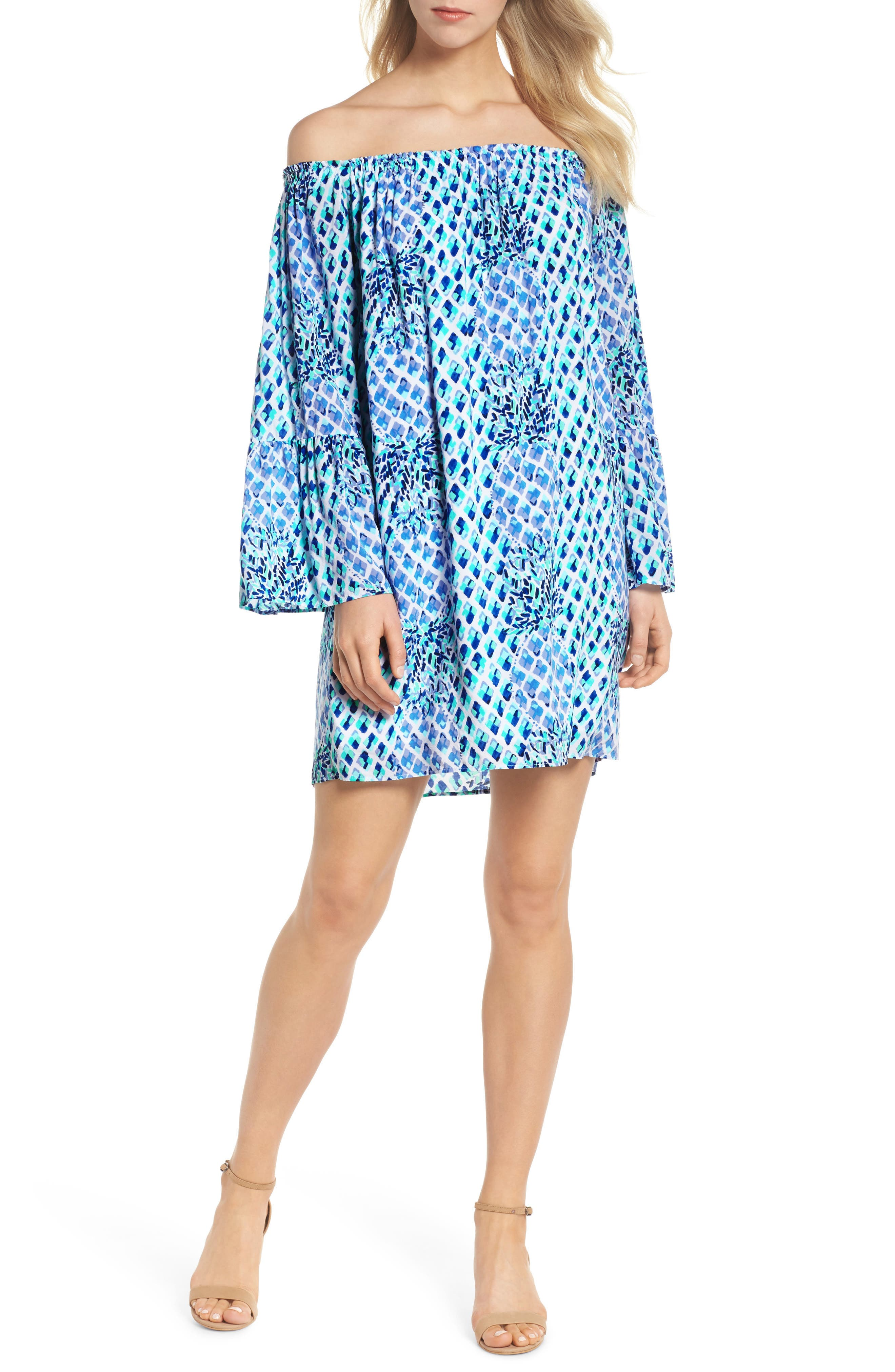 Lilly Pullitzer<sup>®</sup> Nevie Off the Shoulder Dress,                             Main thumbnail 1, color,