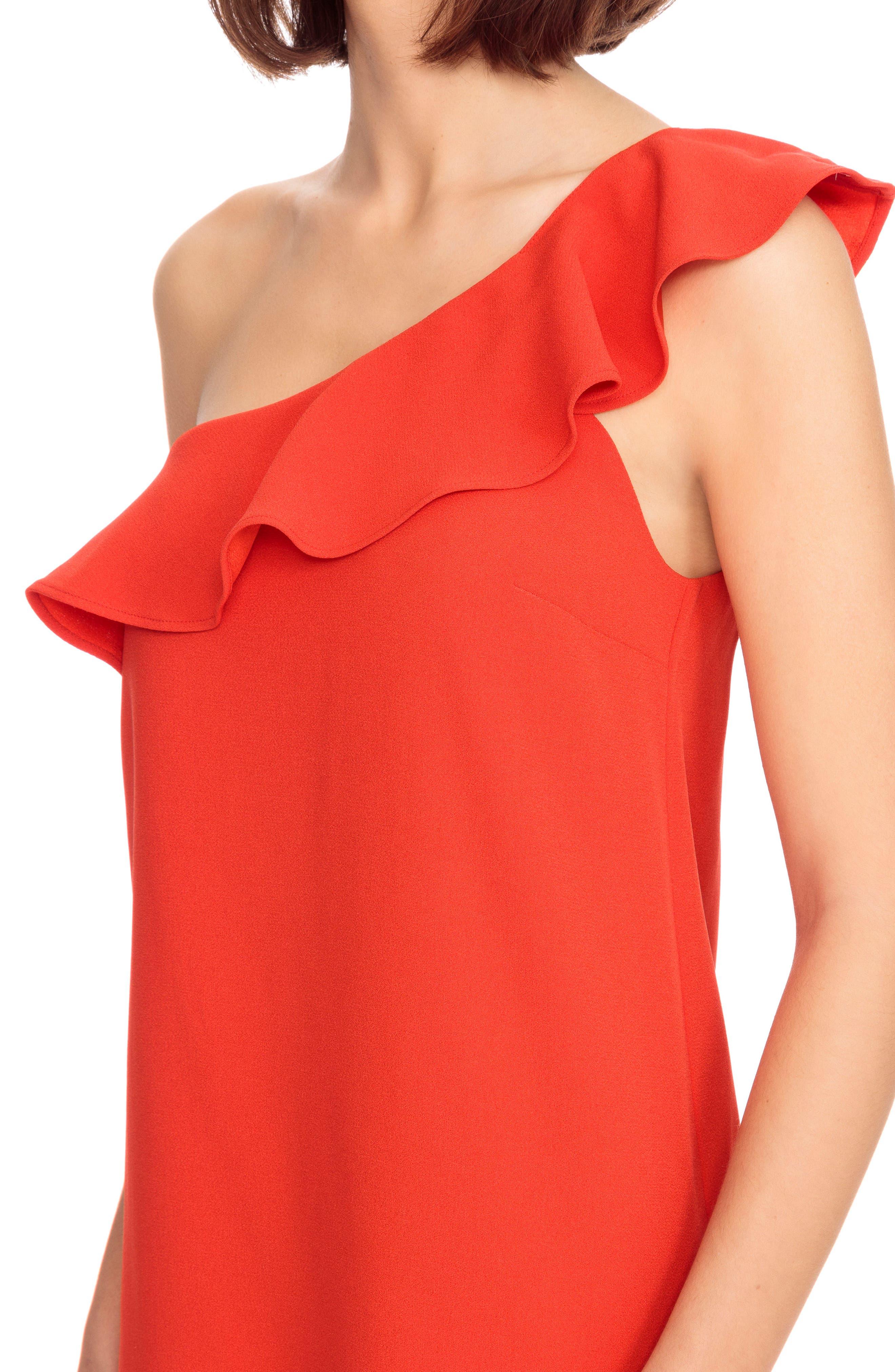 Louison Ruffle One-Shoulder Shift Dress,                             Alternate thumbnail 4, color,                             600