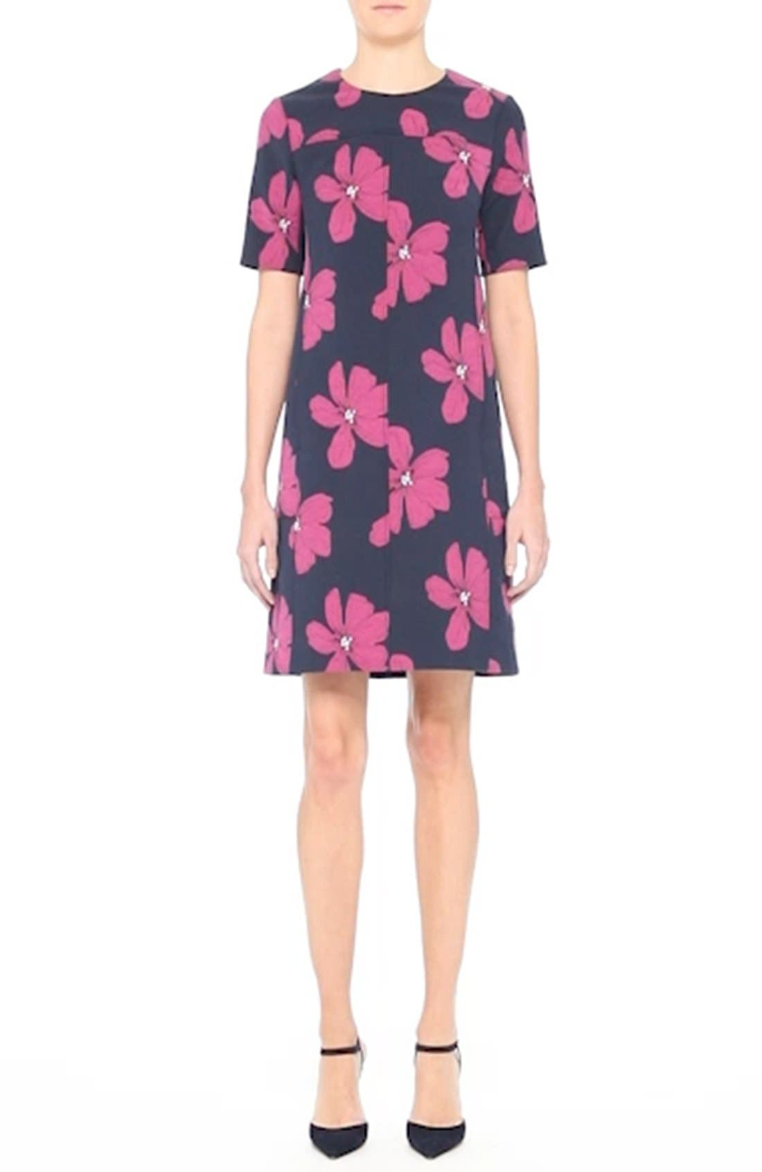 Floral Print Stretch Jacquard Tunic Dress,                             Alternate thumbnail 7, color,                             400