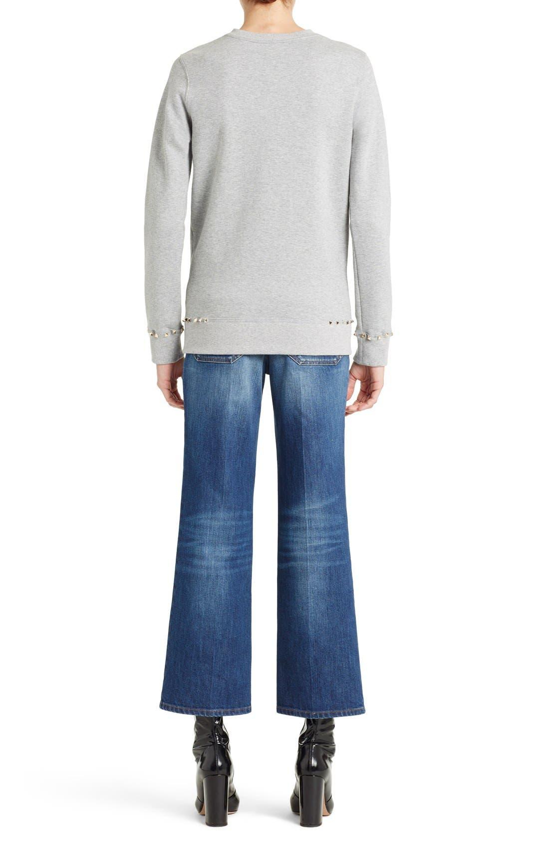 Studded Crewneck Sweatshirt,                             Alternate thumbnail 2, color,                             GREY