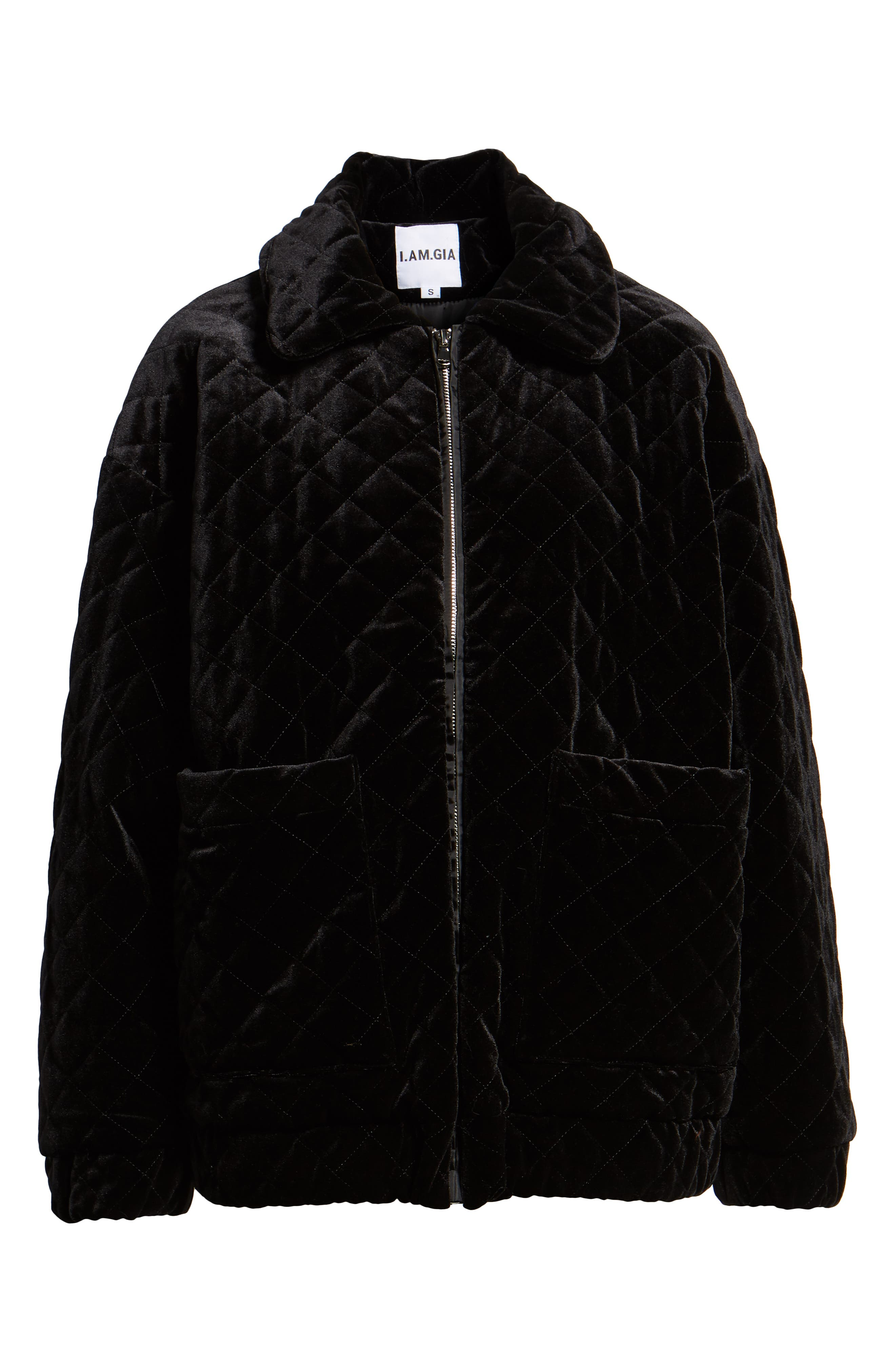 I.AM.GIA Contraband Quilted Velvet Jacket,                             Alternate thumbnail 6, color,                             BLACK