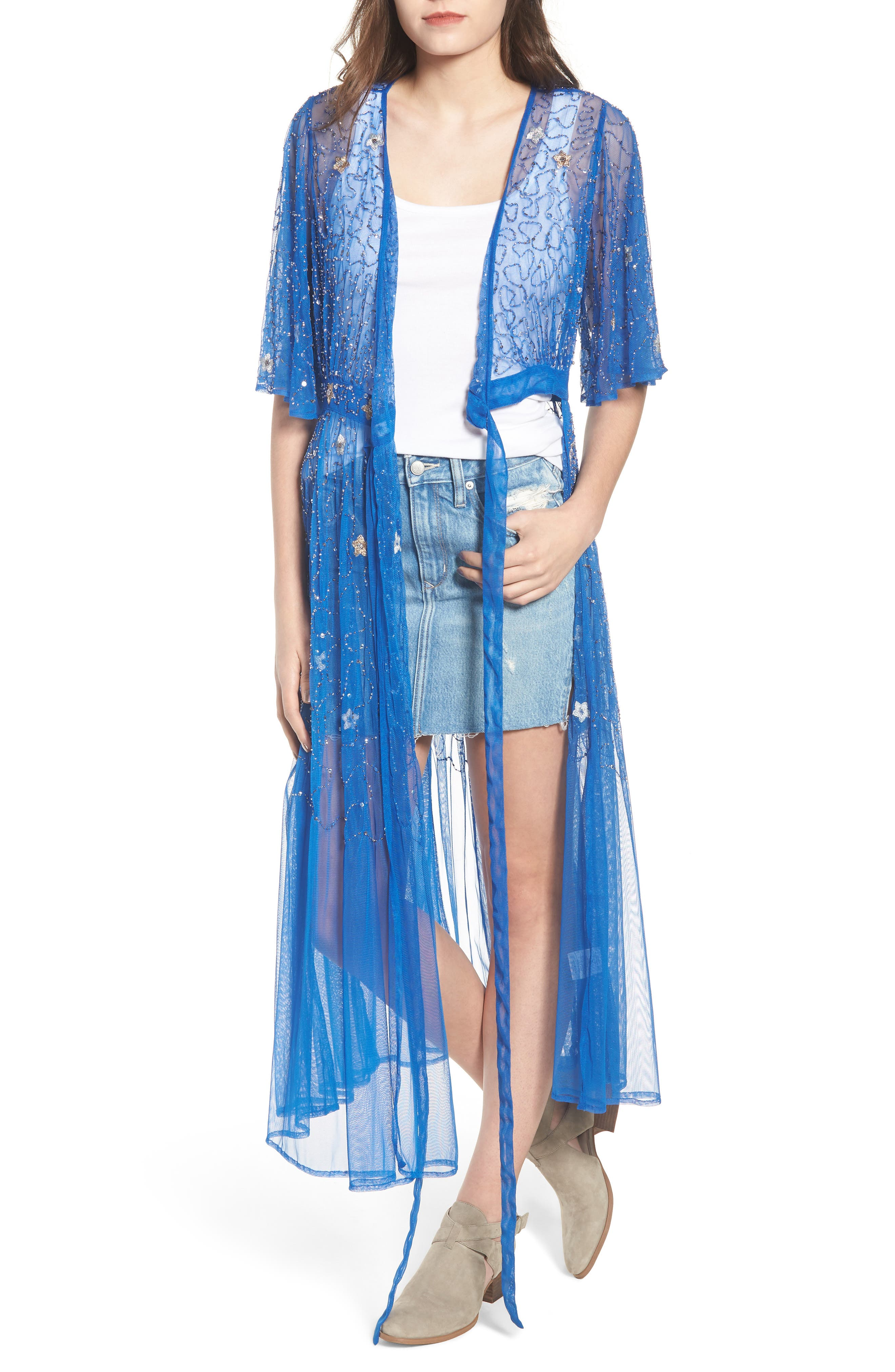 Stargazer Kimono,                             Main thumbnail 1, color,                             LAPIZ BLUE