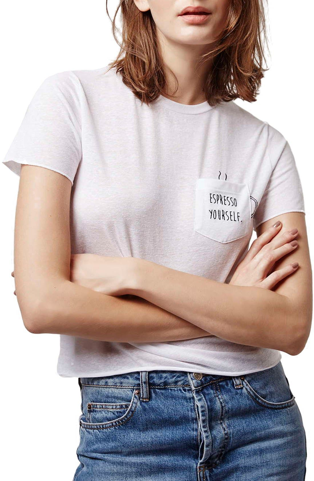 'Espresso Yourself' Pocket Tee,                             Main thumbnail 1, color,                             100