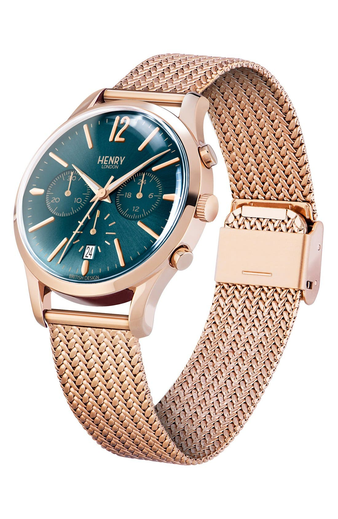 'Stratford' Chronograph Mesh Strap Watch, 38mm,                             Alternate thumbnail 2, color,                             ROSE GOLD/ TEAL