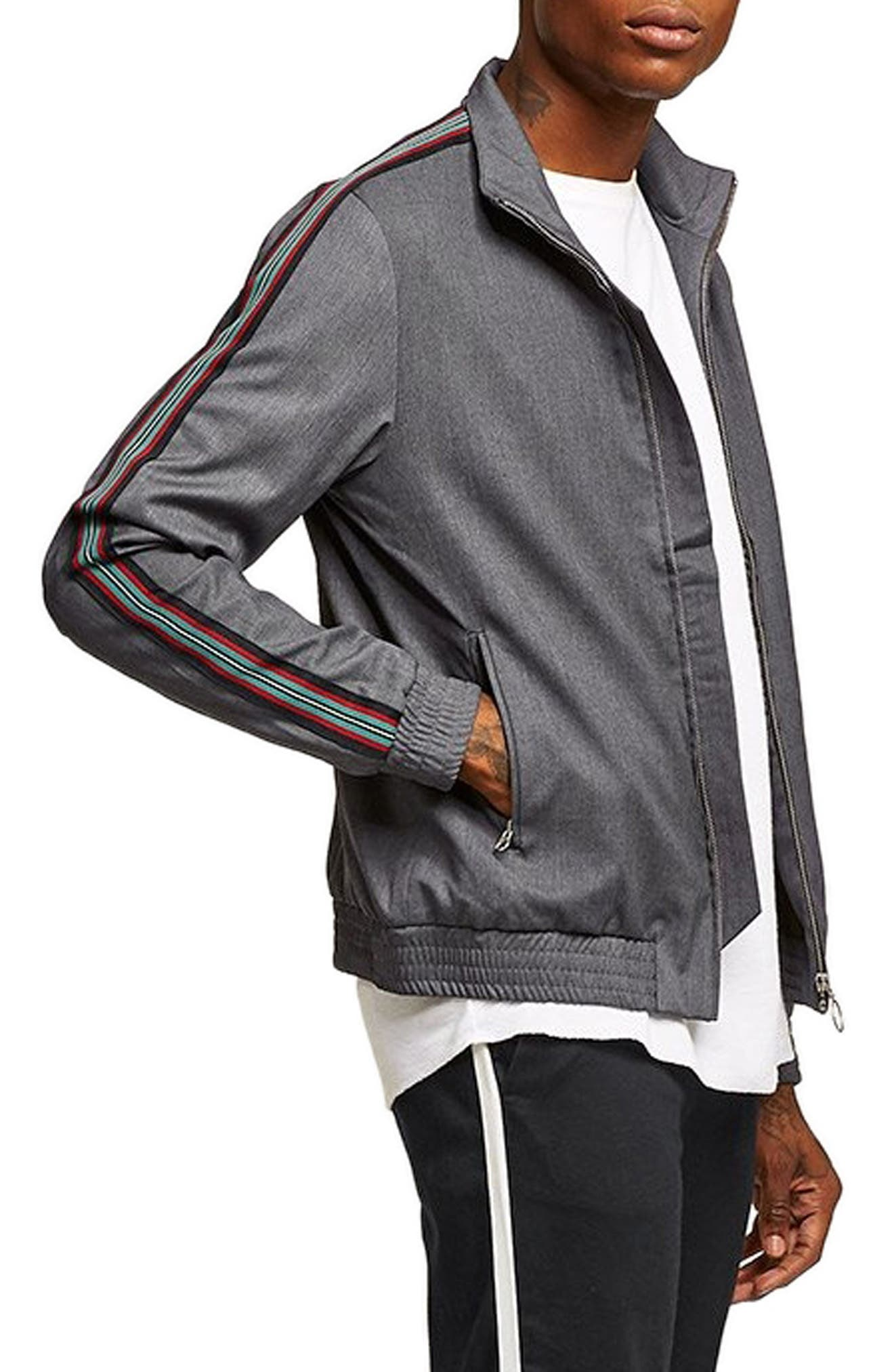 Mélange Stripe Track Jacket,                             Alternate thumbnail 3, color,                             GREY MULTI
