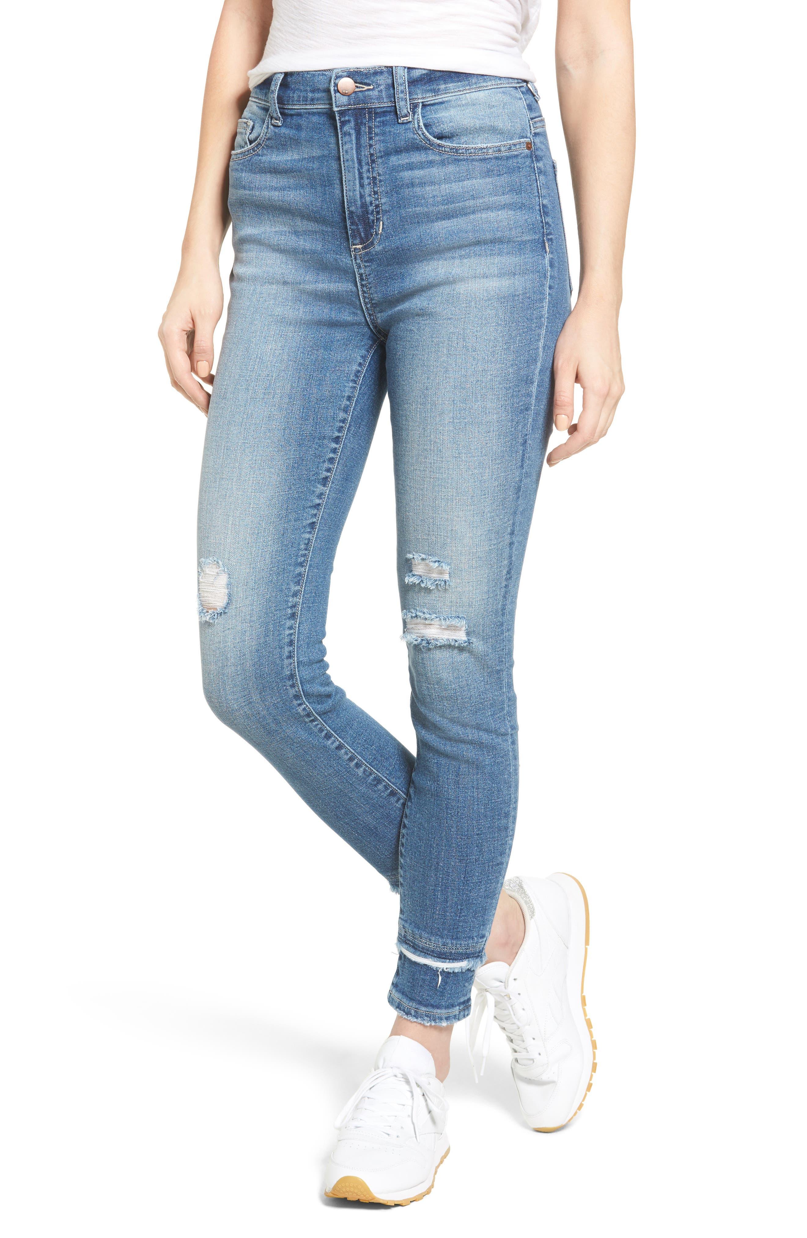 Double Hem Skinny Jeans,                             Main thumbnail 1, color,                             400