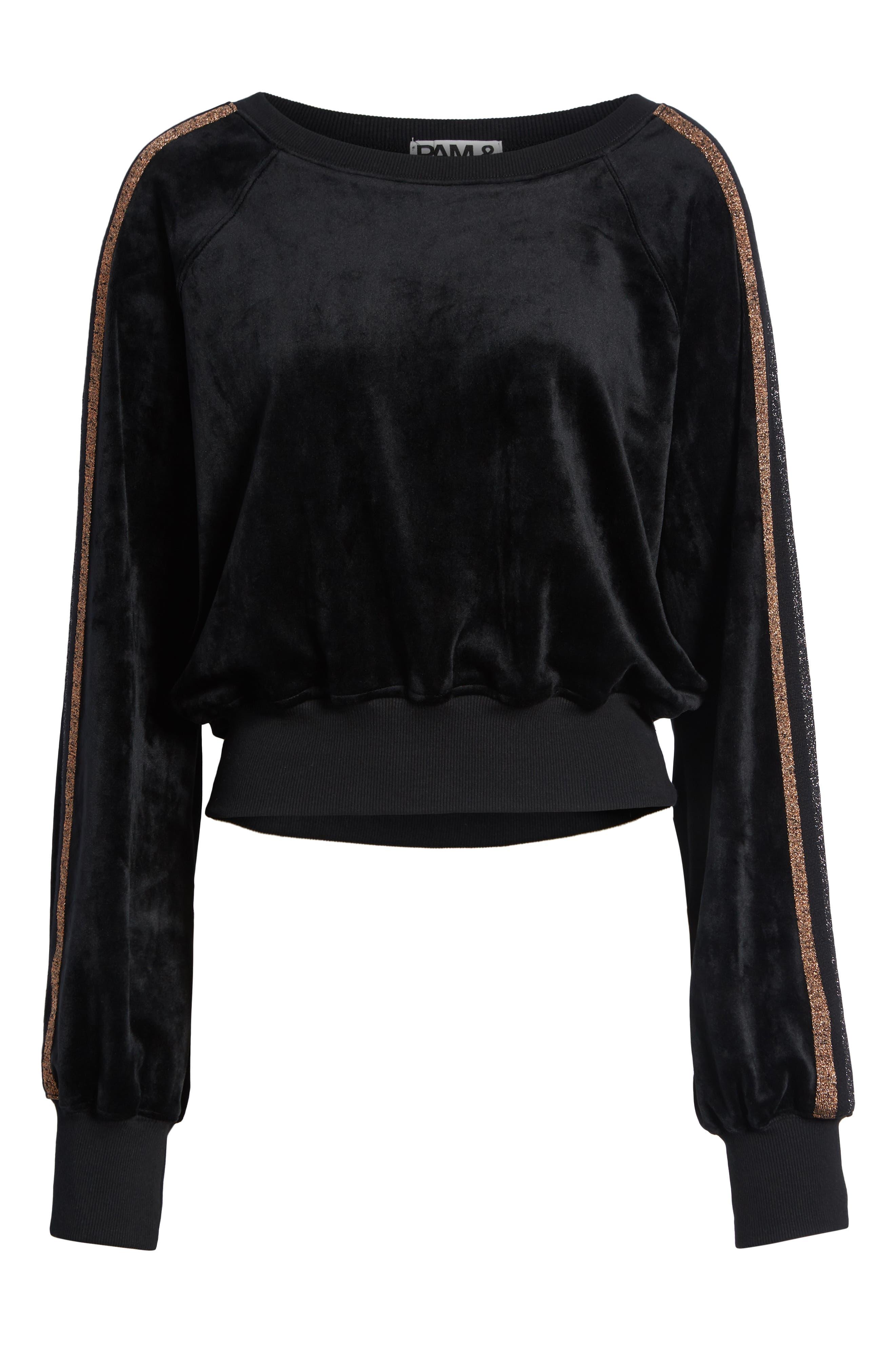 Crop Stripe Sleeve Sweatshirt,                             Alternate thumbnail 6, color,                             BLACK