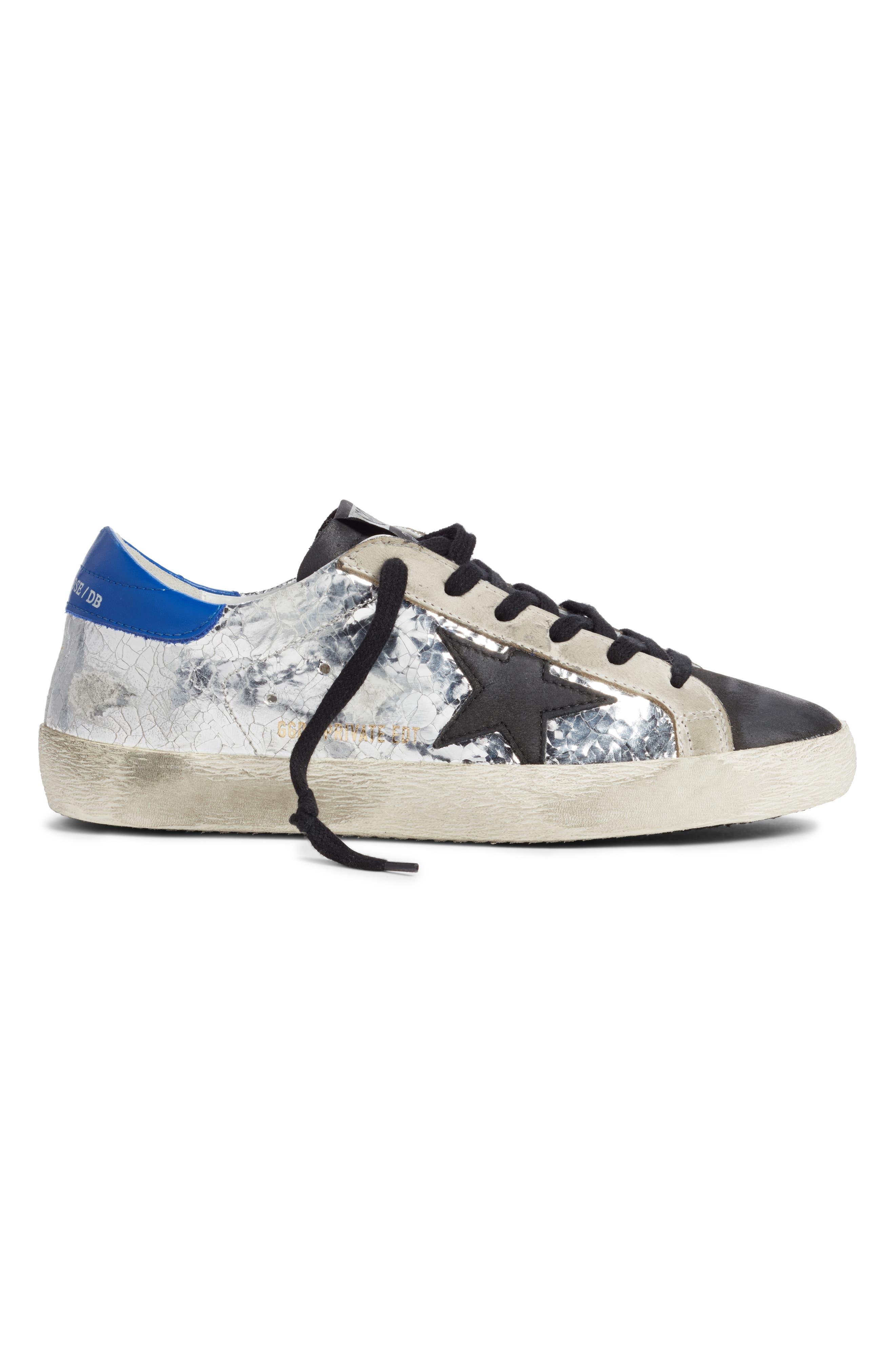 GOLDEN GOOSE,                             Superstar Sneaker,                             Alternate thumbnail 3, color,                             SILVER/ BLUE