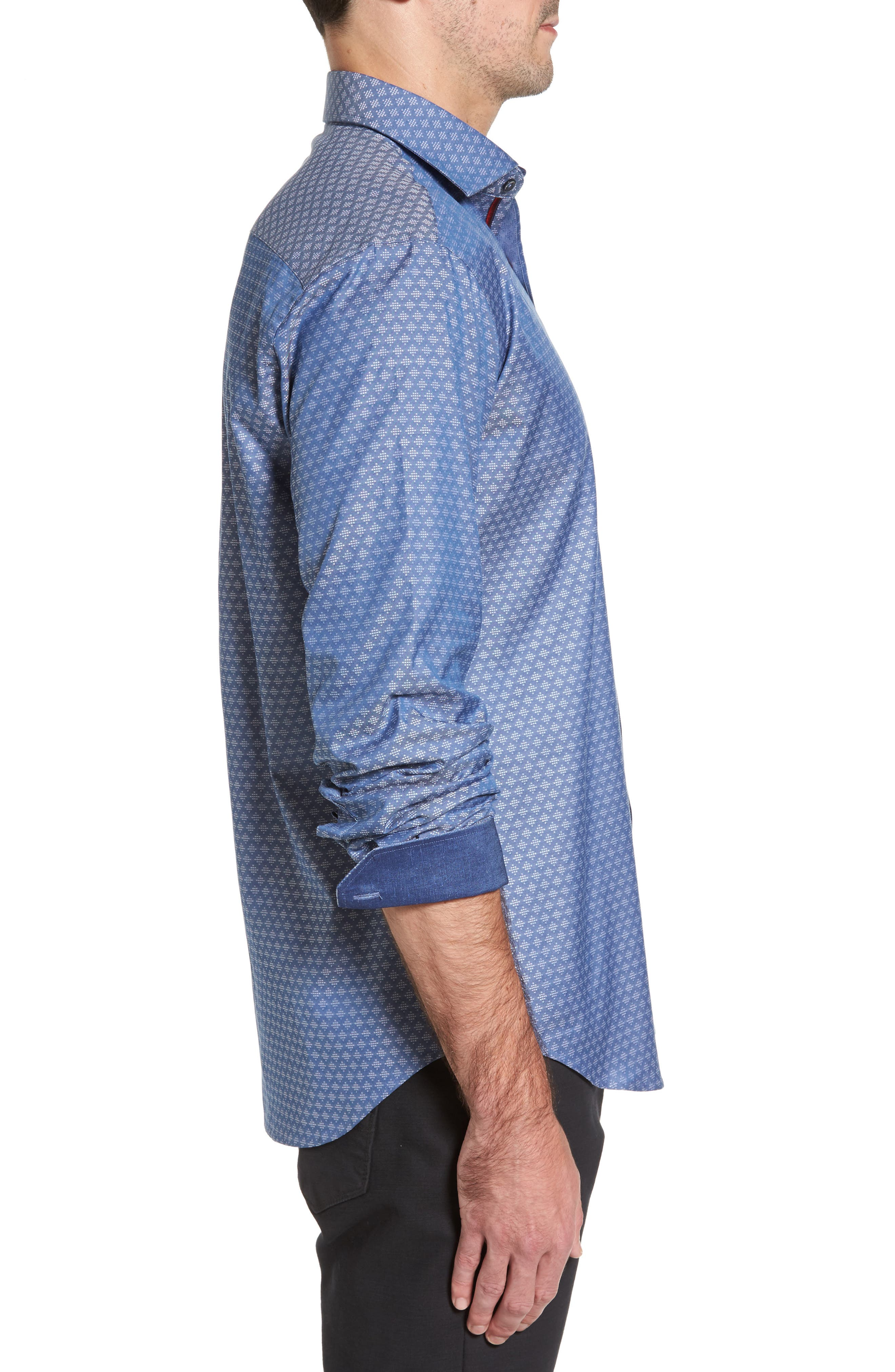 Shaped Fit Dobby Diamond Sport Shirt,                             Alternate thumbnail 3, color,                             030